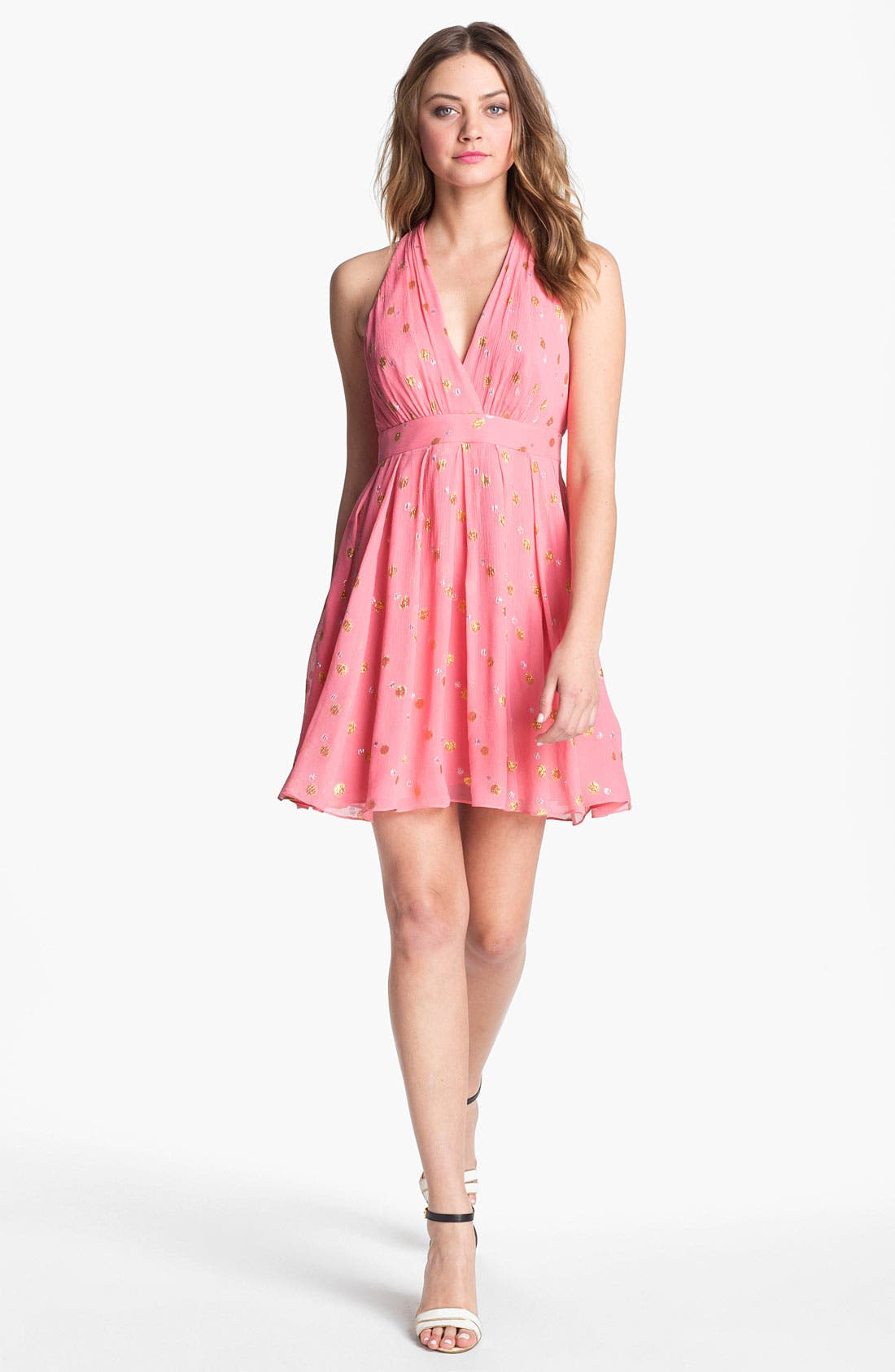 Alternate Image 1  - Nicole Miller 'Mara' Metallic Crinkled Fit & flare Dress