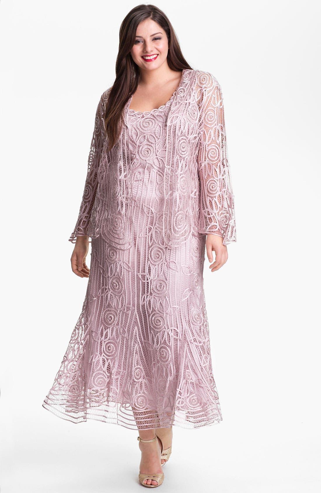 Alternate Image 1 Selected - Soulmates Ribbon Silk Dress & Jacket (Plus Size)