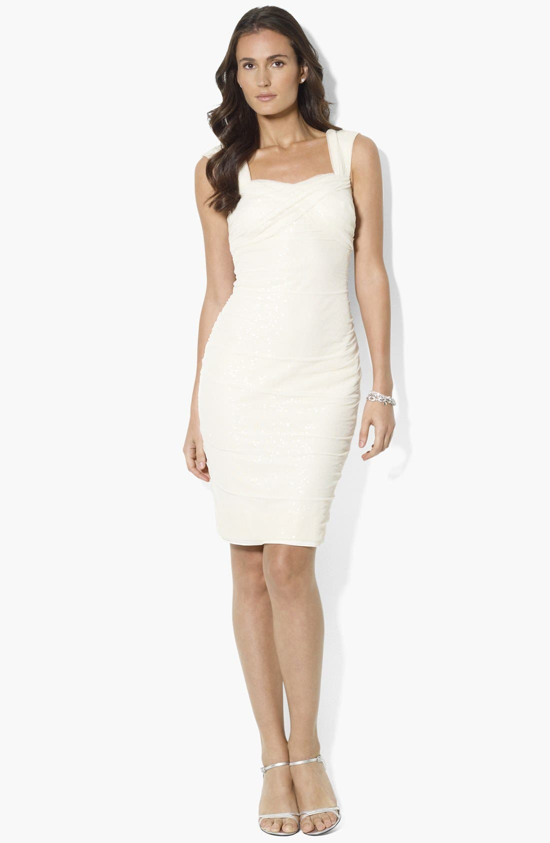 Main Image - Lauren Ralph Lauren Sequin Mesh Sheath Dress