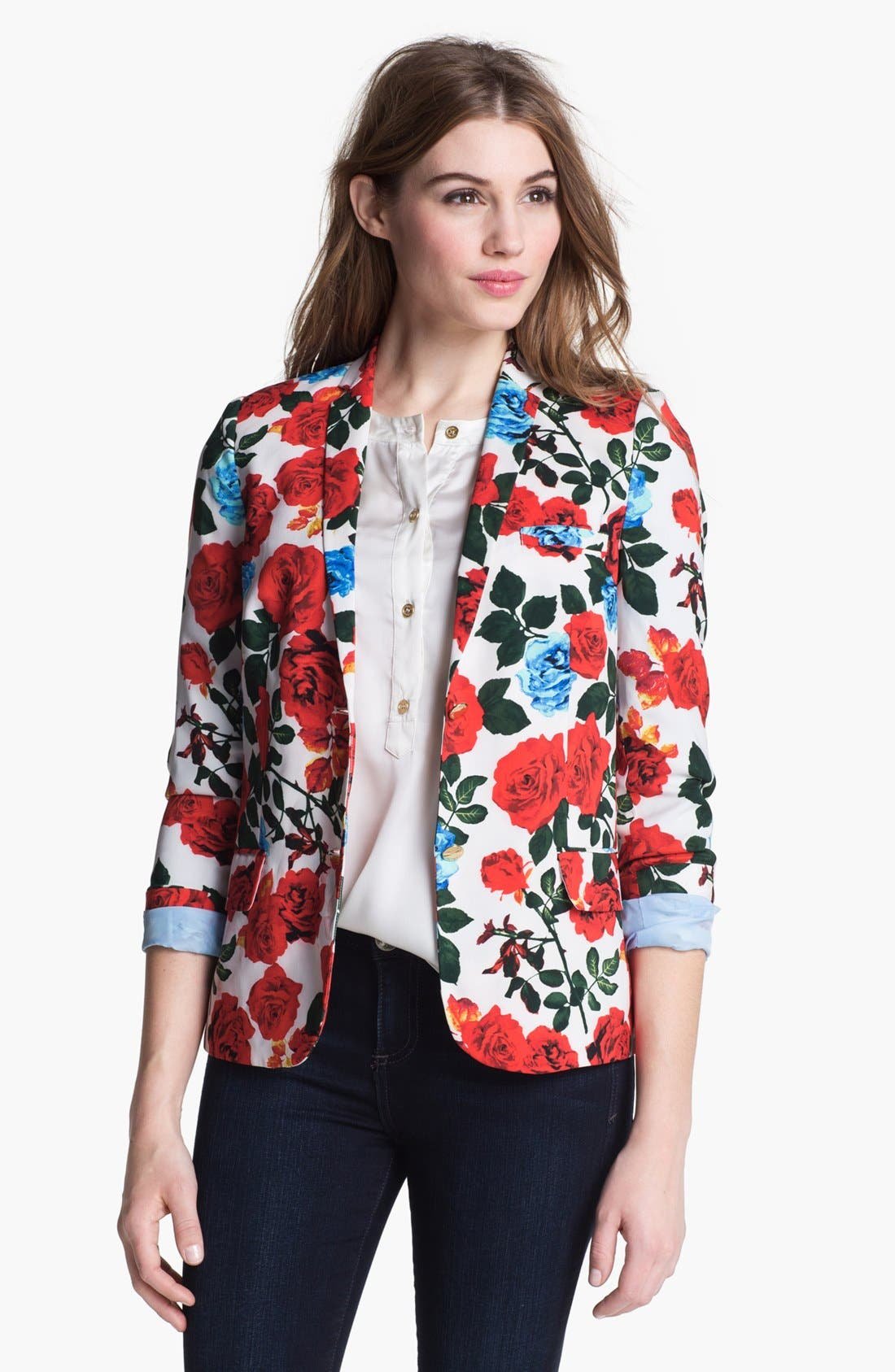 Alternate Image 1 Selected - Vince Camuto Rose Print Blazer