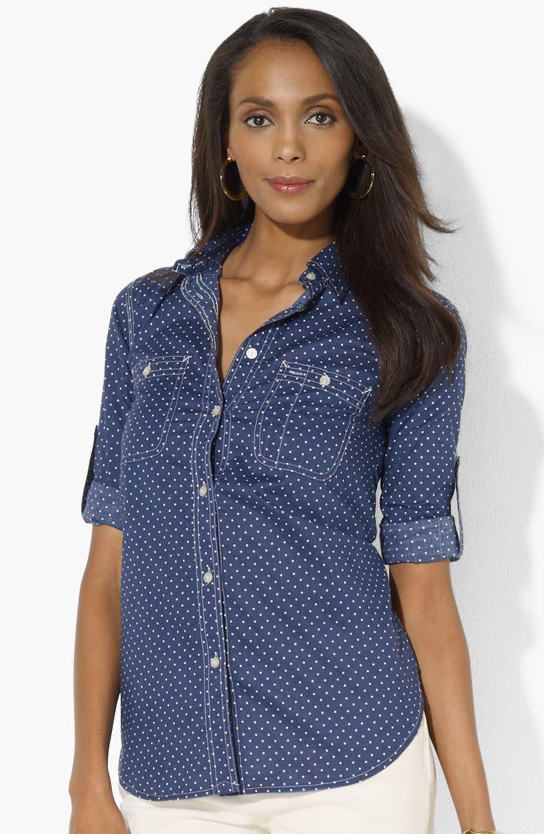 Main Image - Lauren Ralph Lauren Dot Chambray Shirt