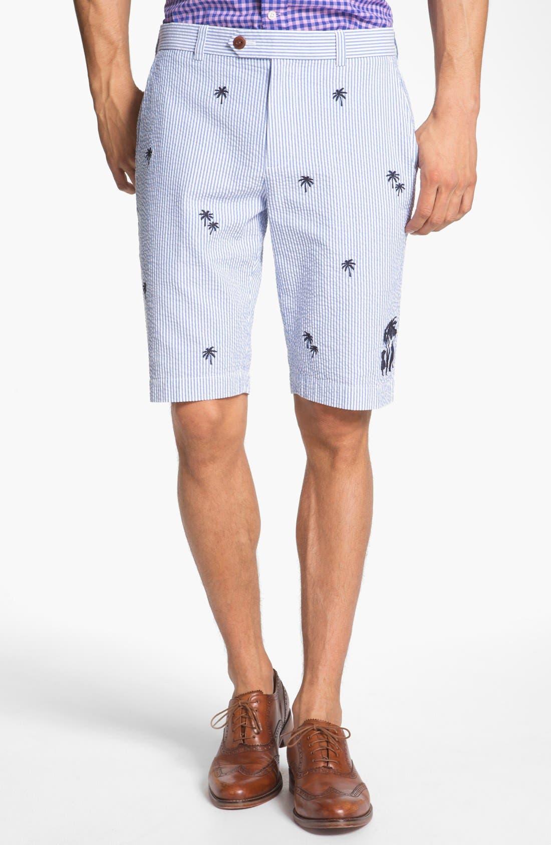 Main Image - Brooks Brothers 'Luau' Bermuda Fit Seersucker Shorts