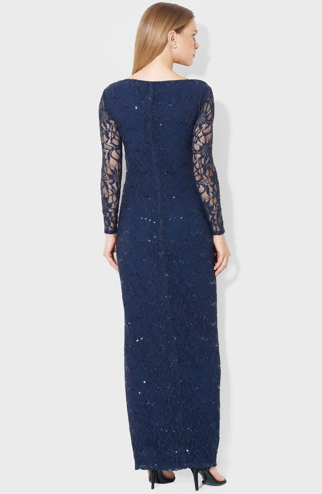 Alternate Image 2  - Lauren Ralph Lauren Illusion Sleeve Lace Gown (Petite)