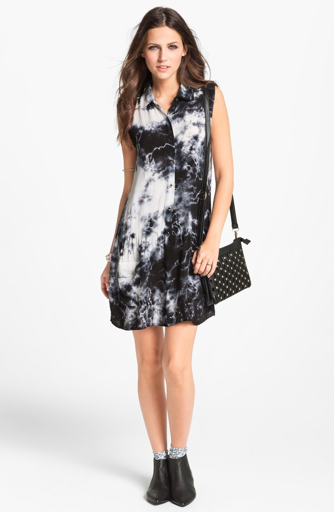 Alternate Image 1  - Socialite Sleeveless Shirtdress (Juniors) (Online Only)