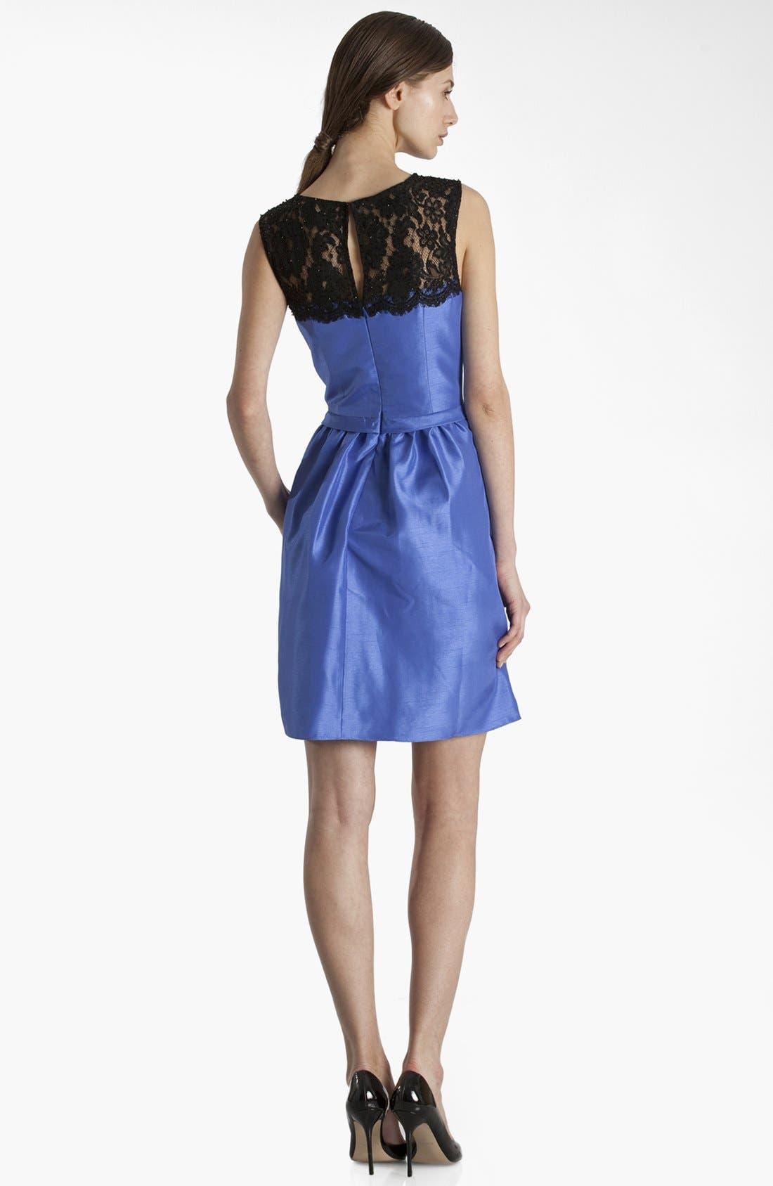 Alternate Image 2  - JS Boutique Lace Yoke Fit & Flare Dress