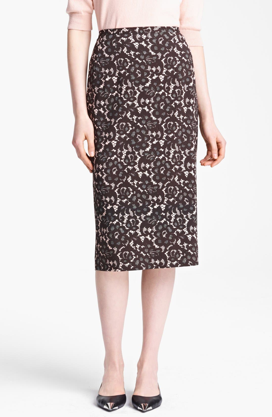 Alternate Image 1 Selected - Michael Kors Guipure Print Stretch Cady Pencil Skirt