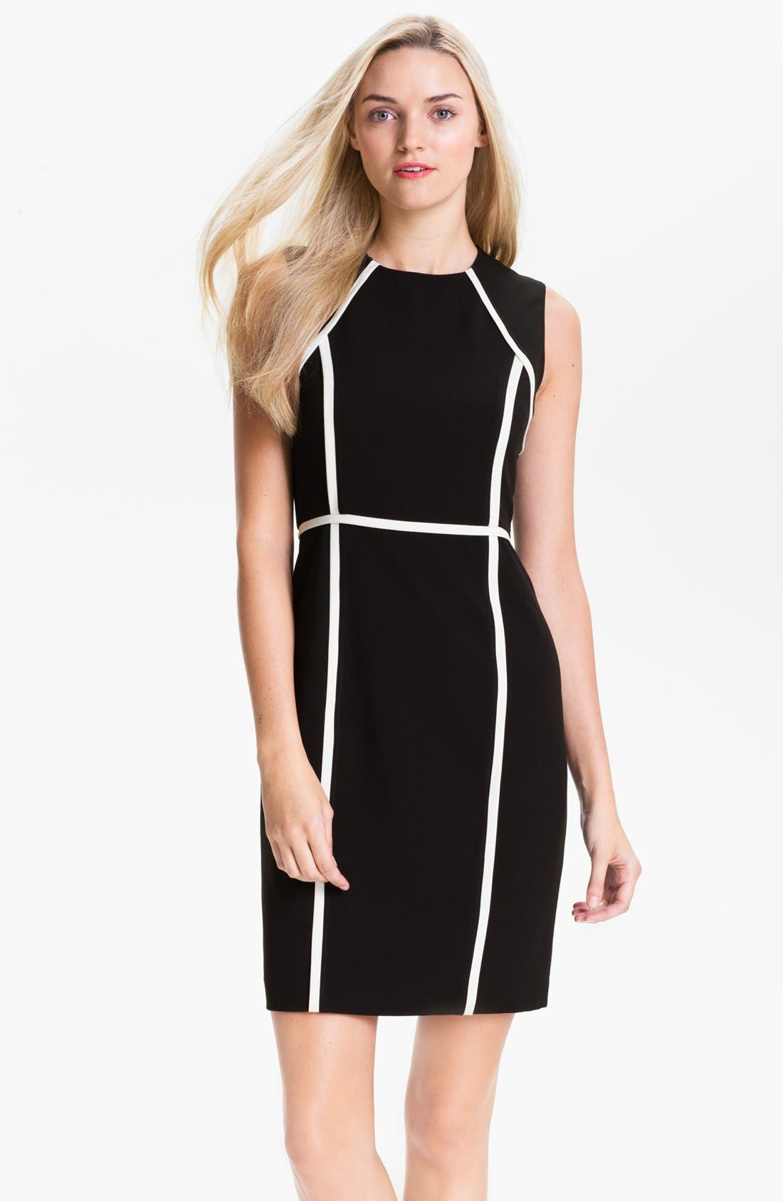 Alternate Image 1 Selected - Calvin Klein Contrast Trim Sheath Dress (Petite)