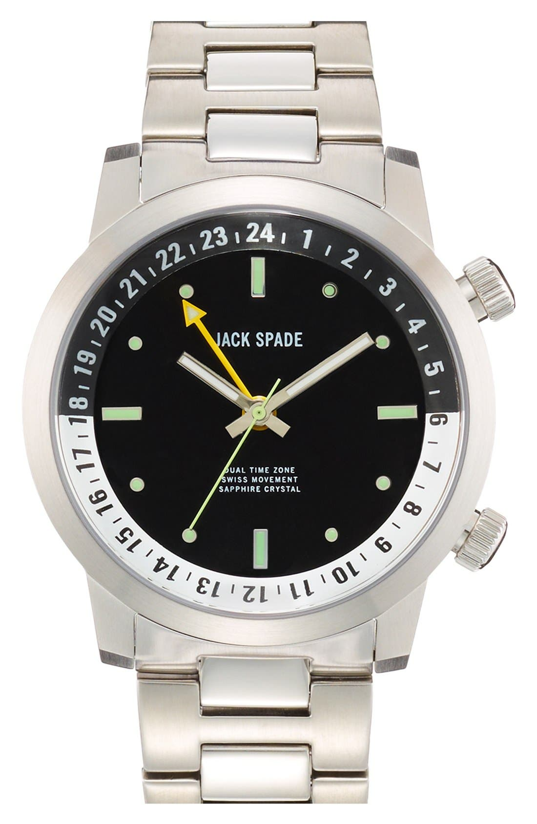 Main Image - Jack Spade 'Cortlandt' Dual Time Bracelet Watch, 43mm