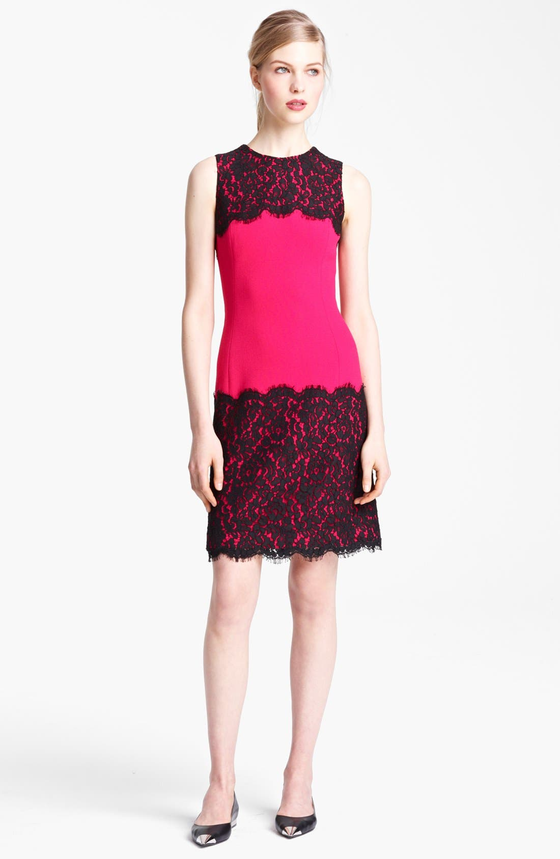 Alternate Image 1 Selected - Michael Kors Lace Trim Crepe Sheath Dress