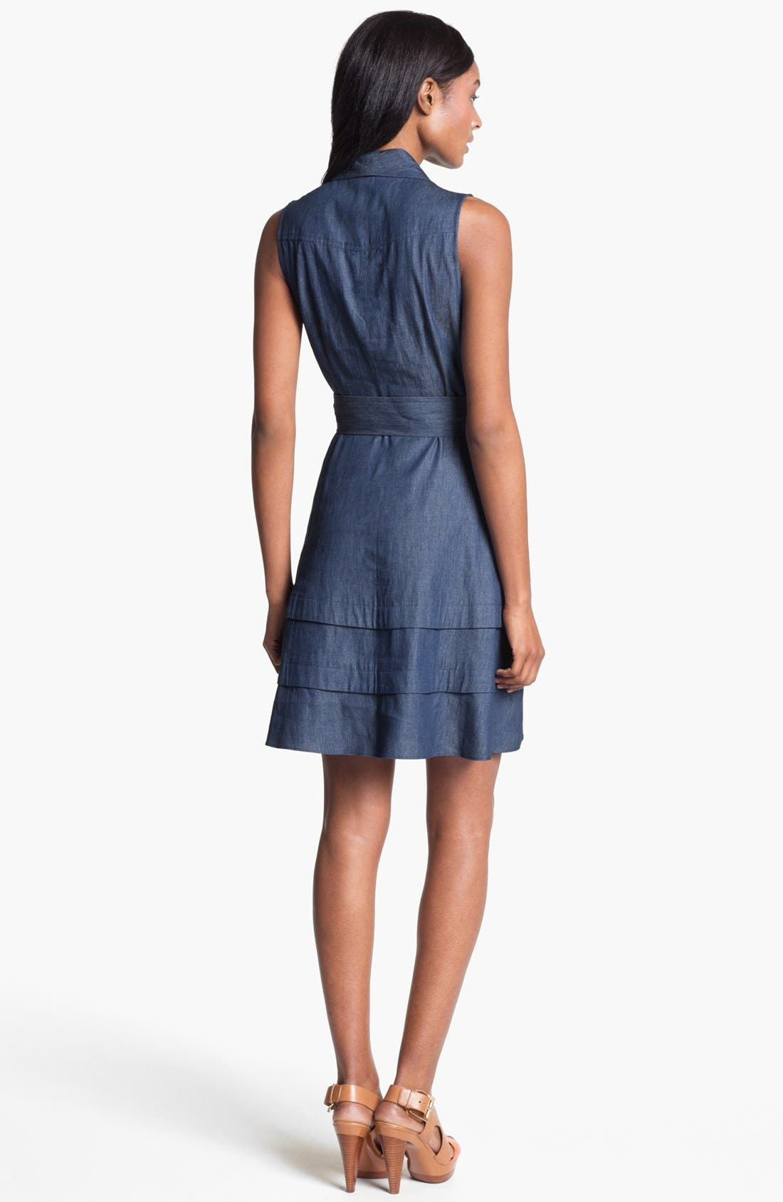 Alternate Image 2  - Adrianna Papell Faux Wrap Chambray Dress