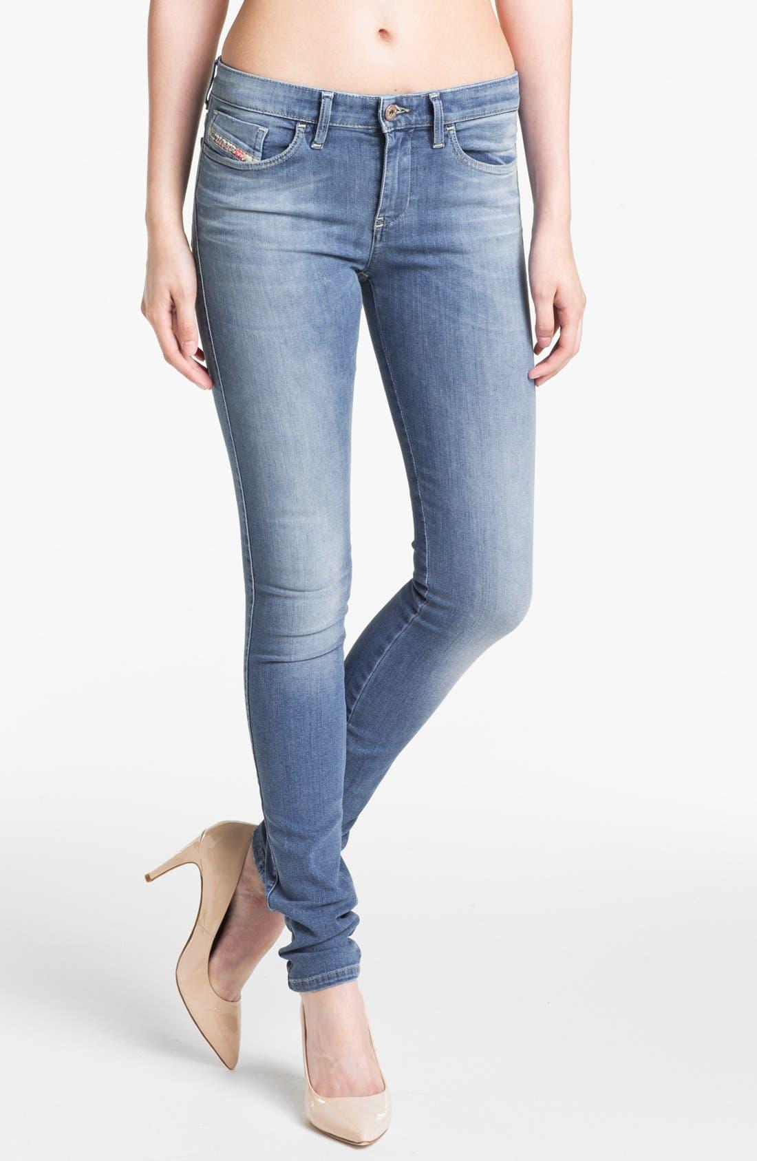 Alternate Image 1 Selected - DIESEL® 'Skinzee' Stretch Skinny Jeans (Light Denim)
