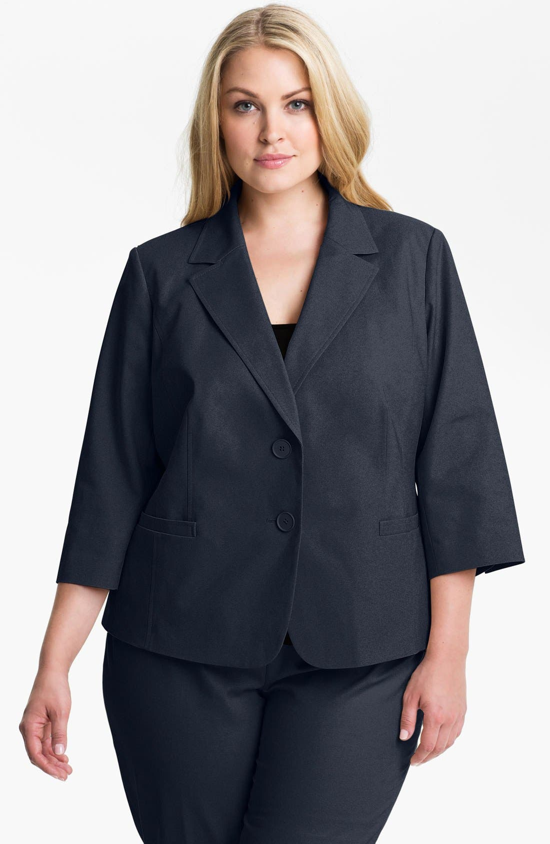 Alternate Image 1 Selected - Sejour Stretch Cotton Jacket (Plus Size)