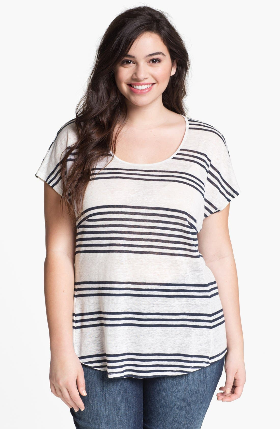 Alternate Image 1 Selected - Lucky Brand 'Arianna' Stripe Tee (Plus Size)