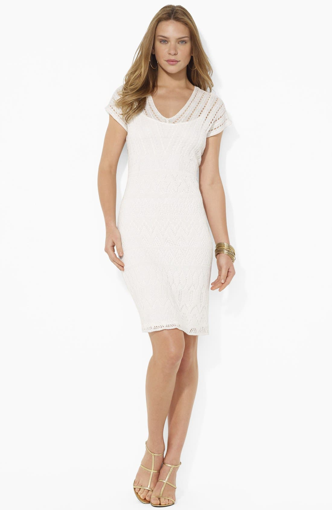 Main Image - Lauren Ralph Lauren V-Neck Pointelle Dress