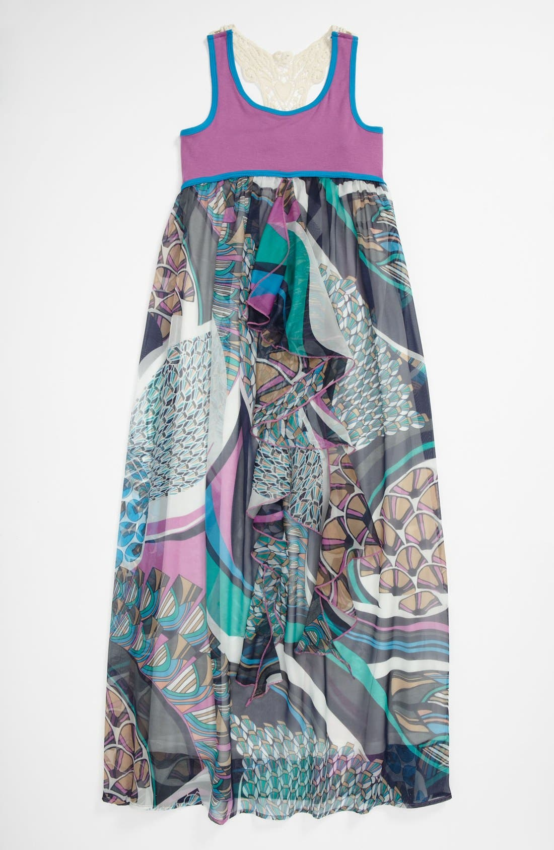 Alternate Image 1 Selected - Truly Me Crochet Maxi Dress (Big Girls)