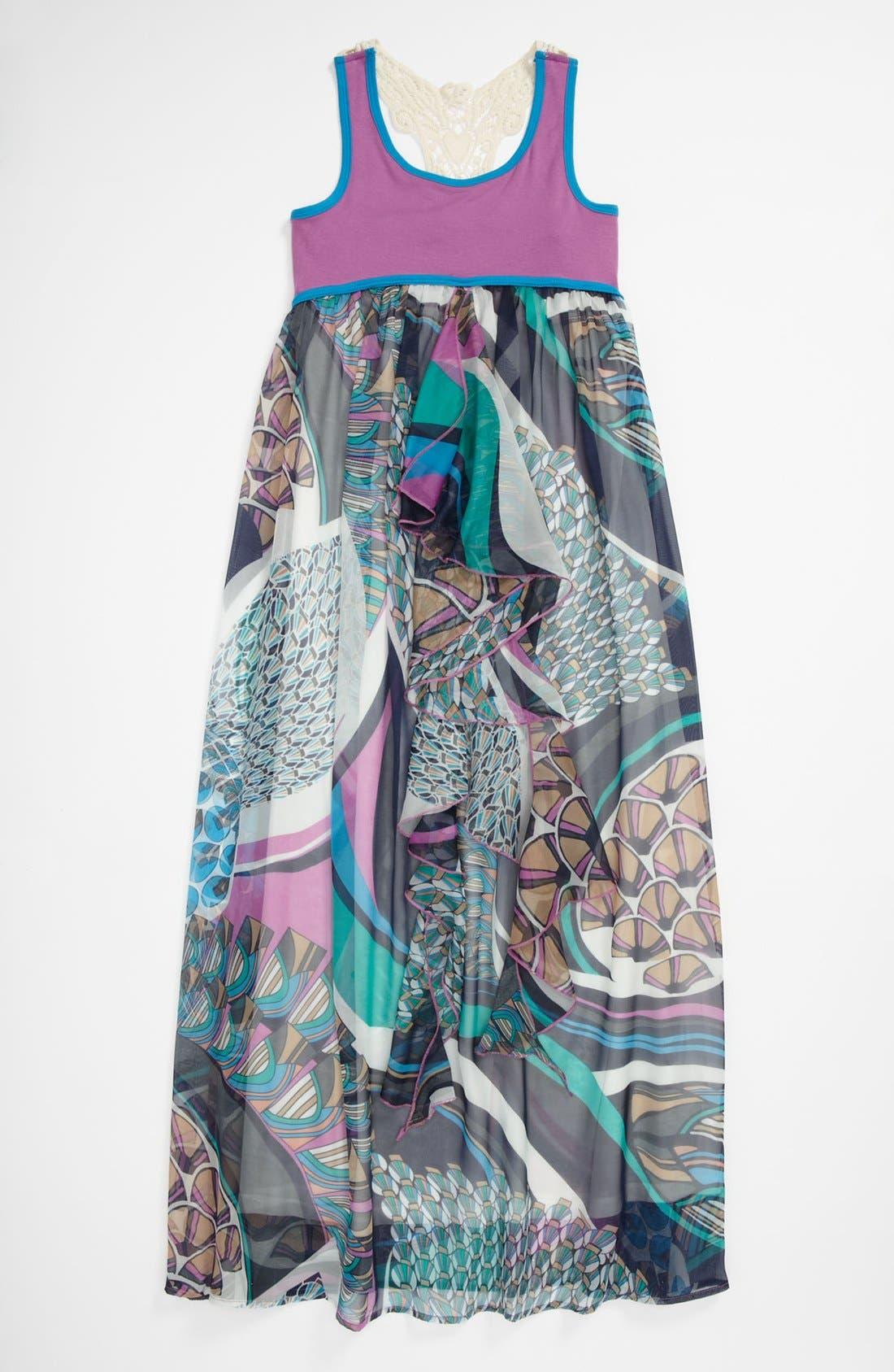 Main Image - Truly Me Crochet Maxi Dress (Big Girls)