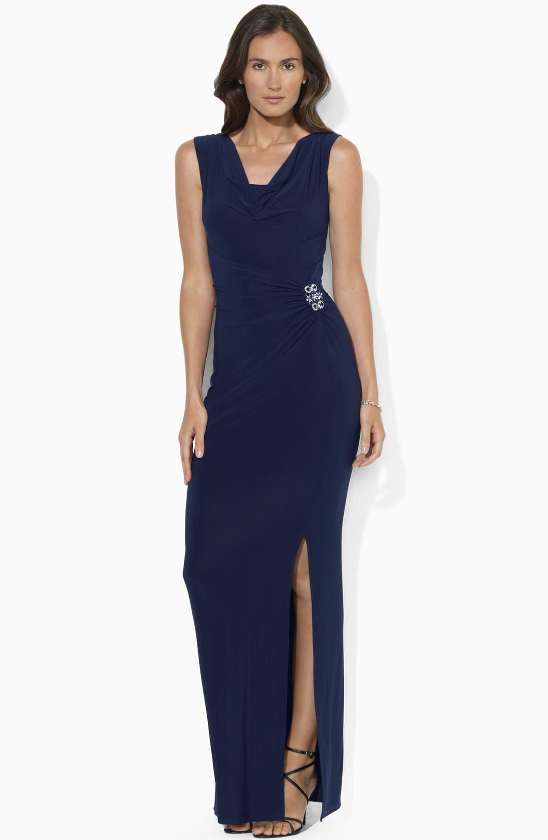 Main Image - Lauren Ralph Lauren Embellished Jersey Gown