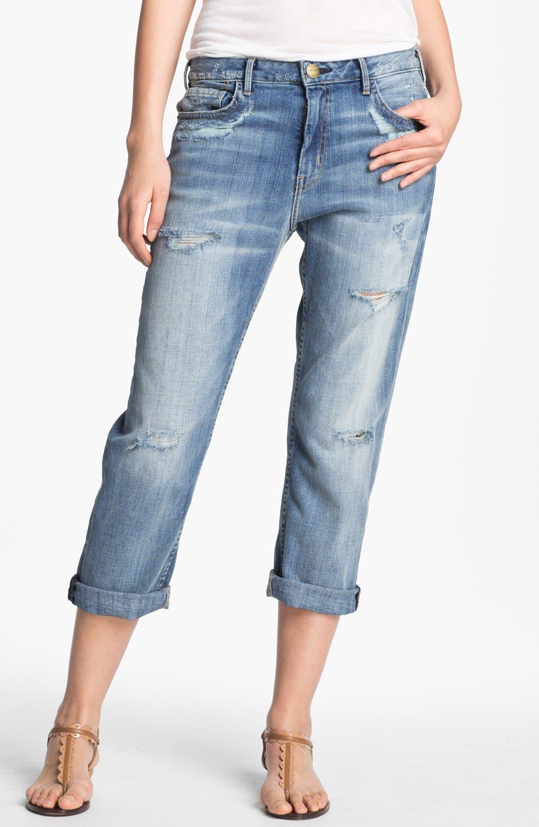 Alternate Image 1 Selected - Current/Elliott Hand Distressed Jeans (Shipwreck Destroy)