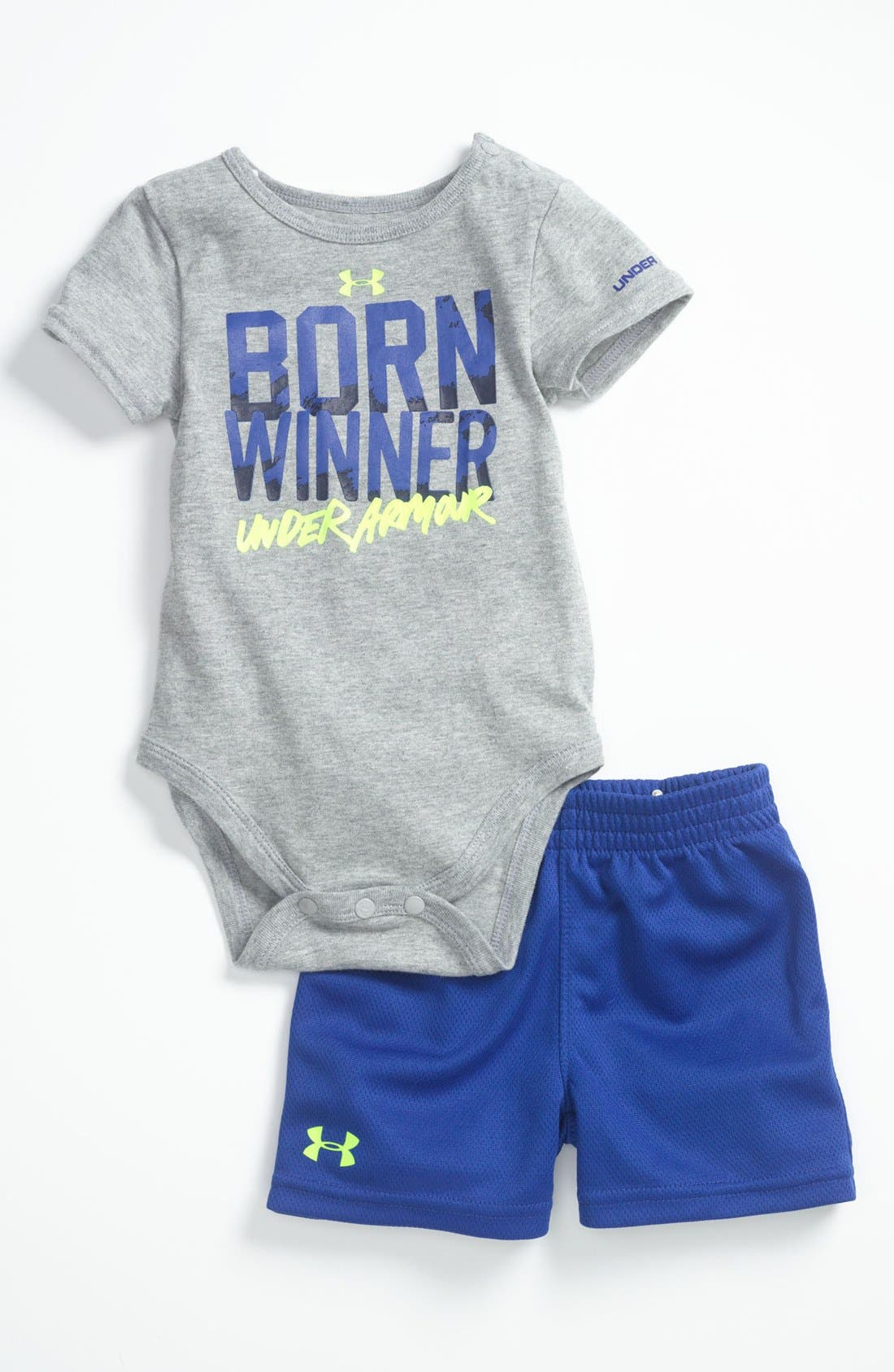 Alternate Image 1 Selected - Under Armour 'Born Winner' Bodysuit & Shorts (Baby)