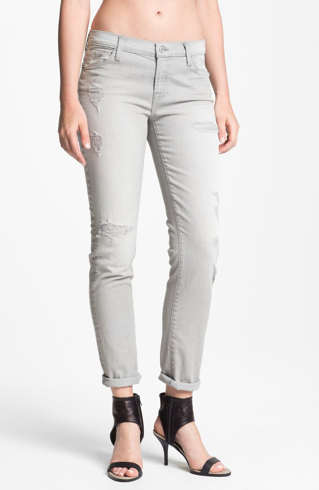 Alternate Image 1 Selected - 7 For All Mankind® 'The Slim Cigarette' Stretch Denim Jeans (Light Grey Destroyed)