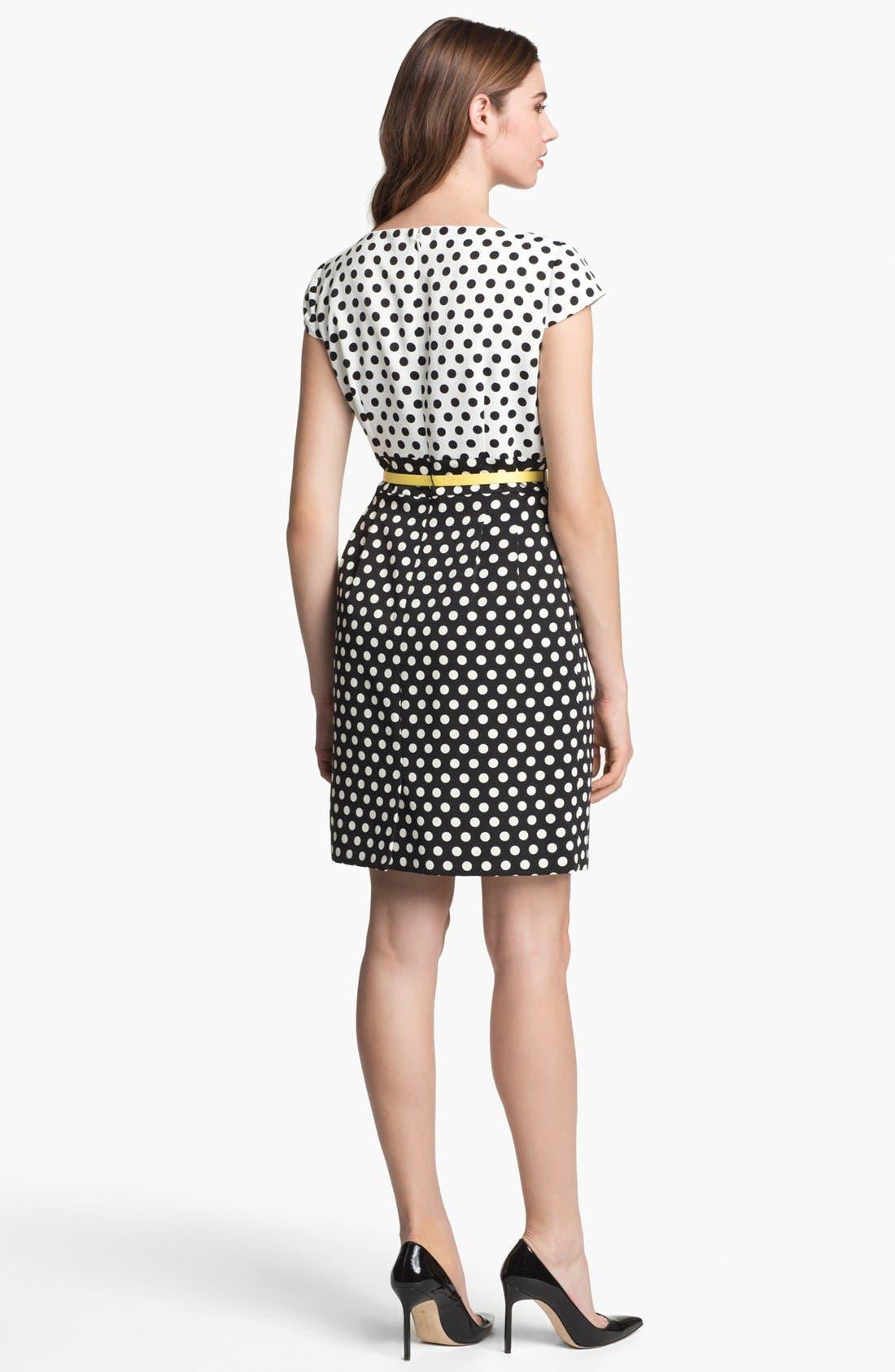 Alternate Image 2  - Tahari Polka Dot Belted Sheath Dress (Petite)