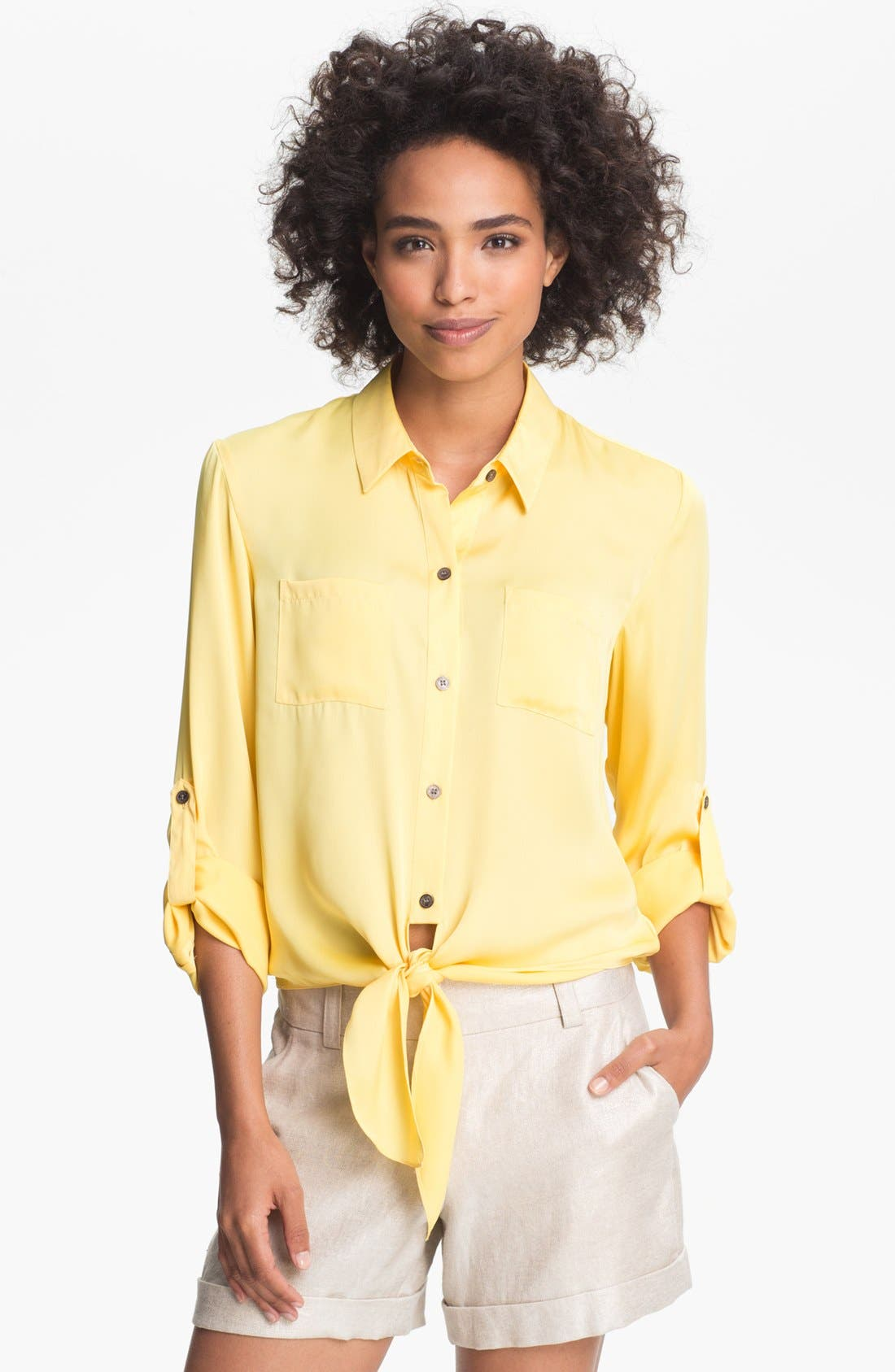 Alternate Image 1 Selected - Vince Camuto Tie Hem Blouse
