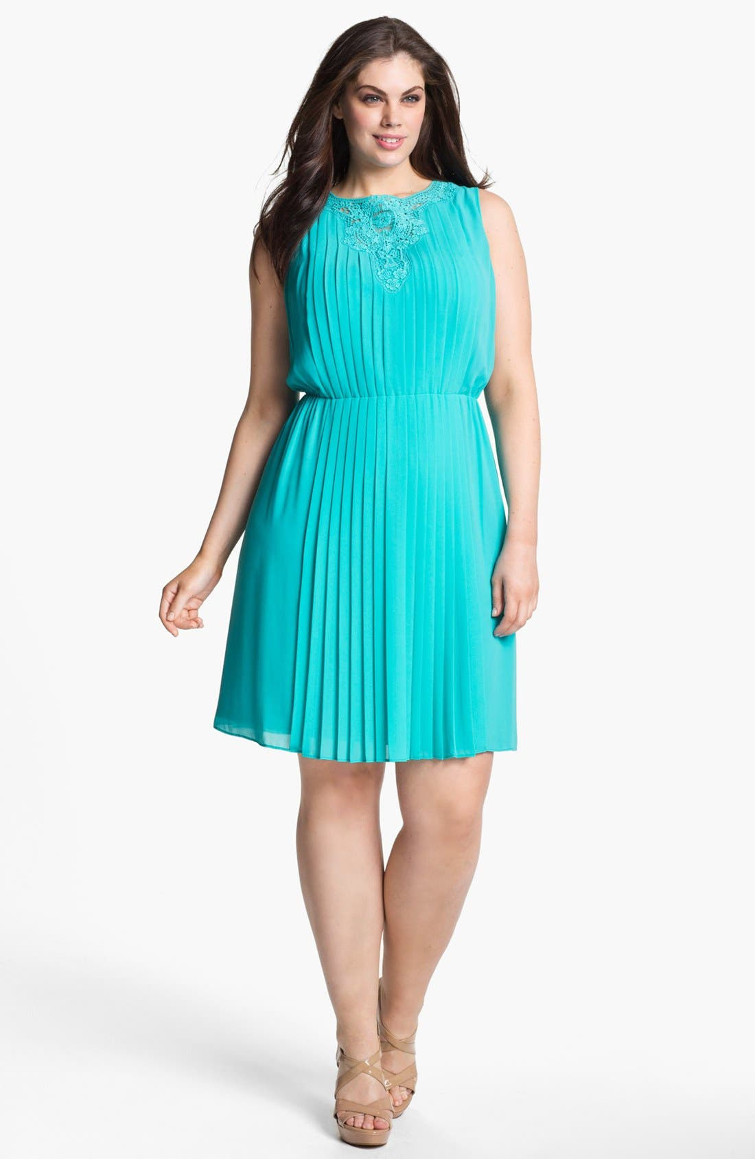 Alternate Image 1 Selected - Jessica Simpson Pleated Dress (Plus Size)