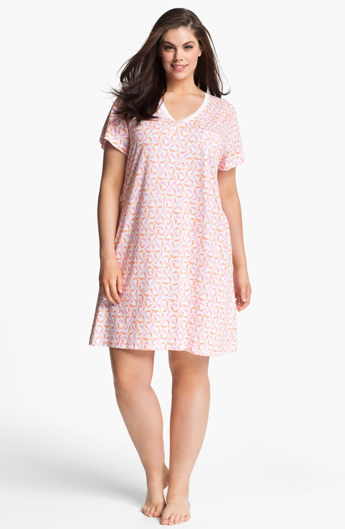 Alternate Image 1 Selected - Carole Hochman Designs Pattern Knit Sleep Shirt (Plus Size)