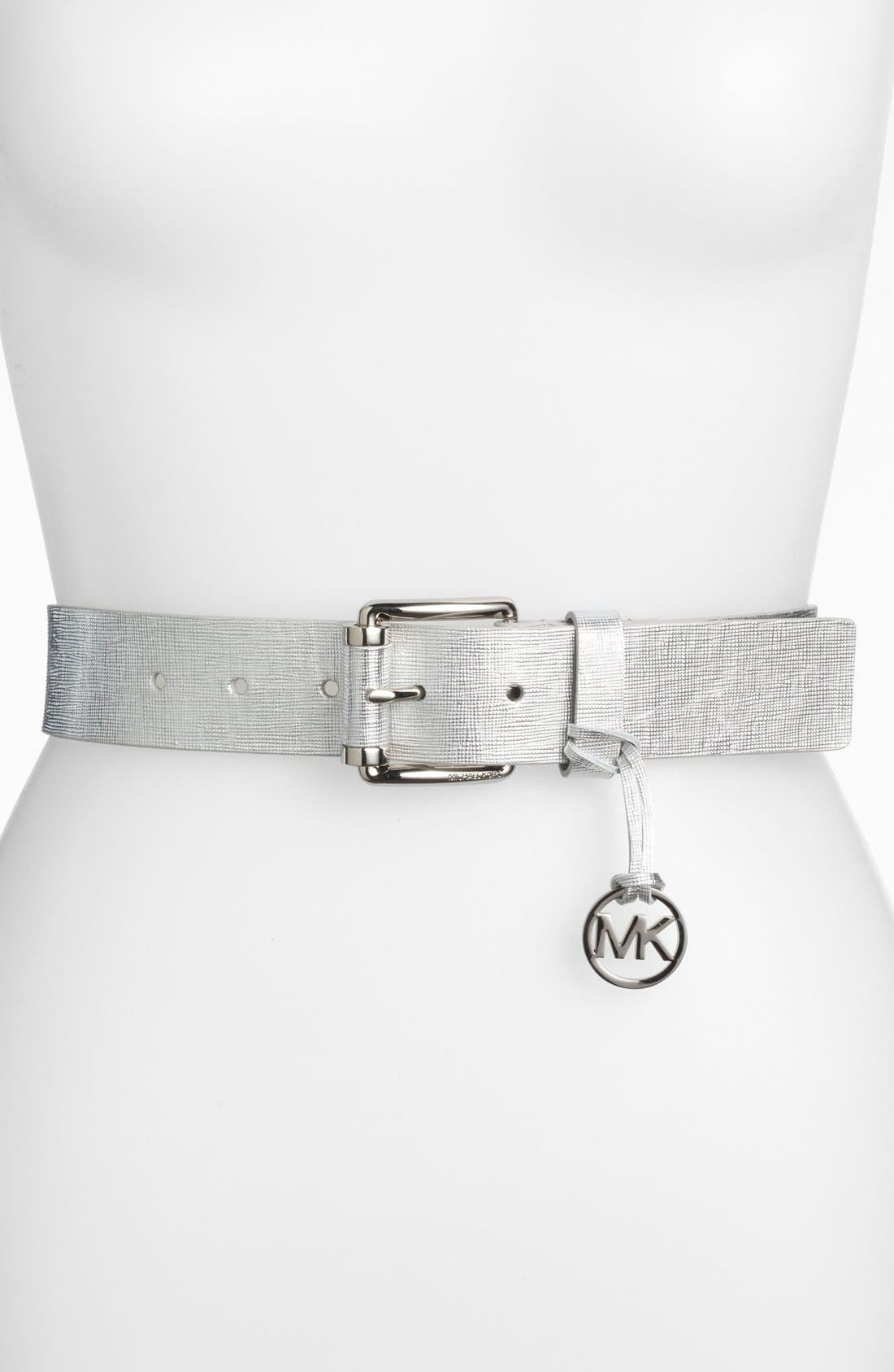 Alternate Image 1 Selected - MICHAEL Michael Kors Logo Charm Metallic Leather Belt