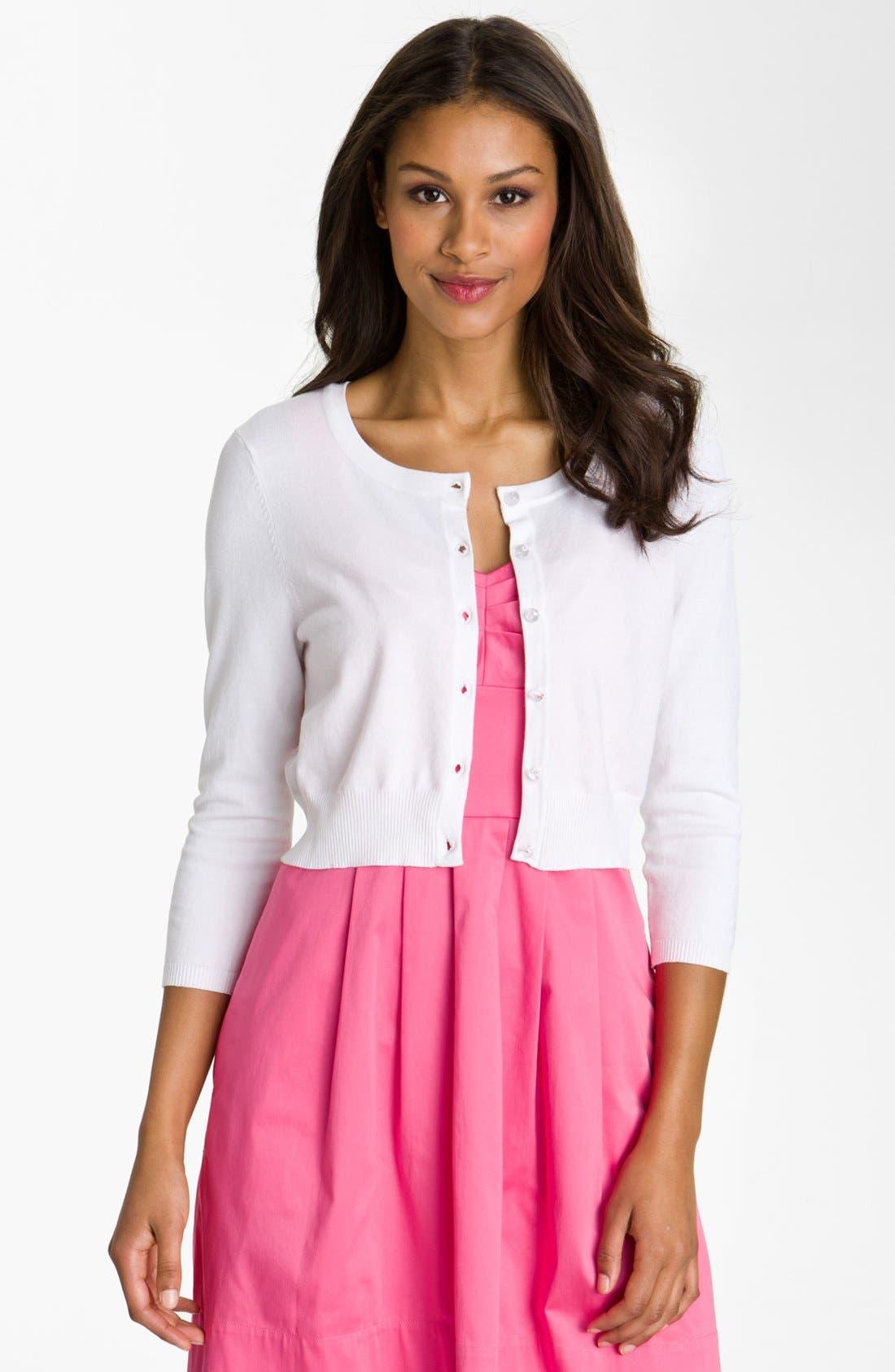 Main Image - Donna Ricco Three Quarter Sleeve Knit Cardigan (Regular & Petite)