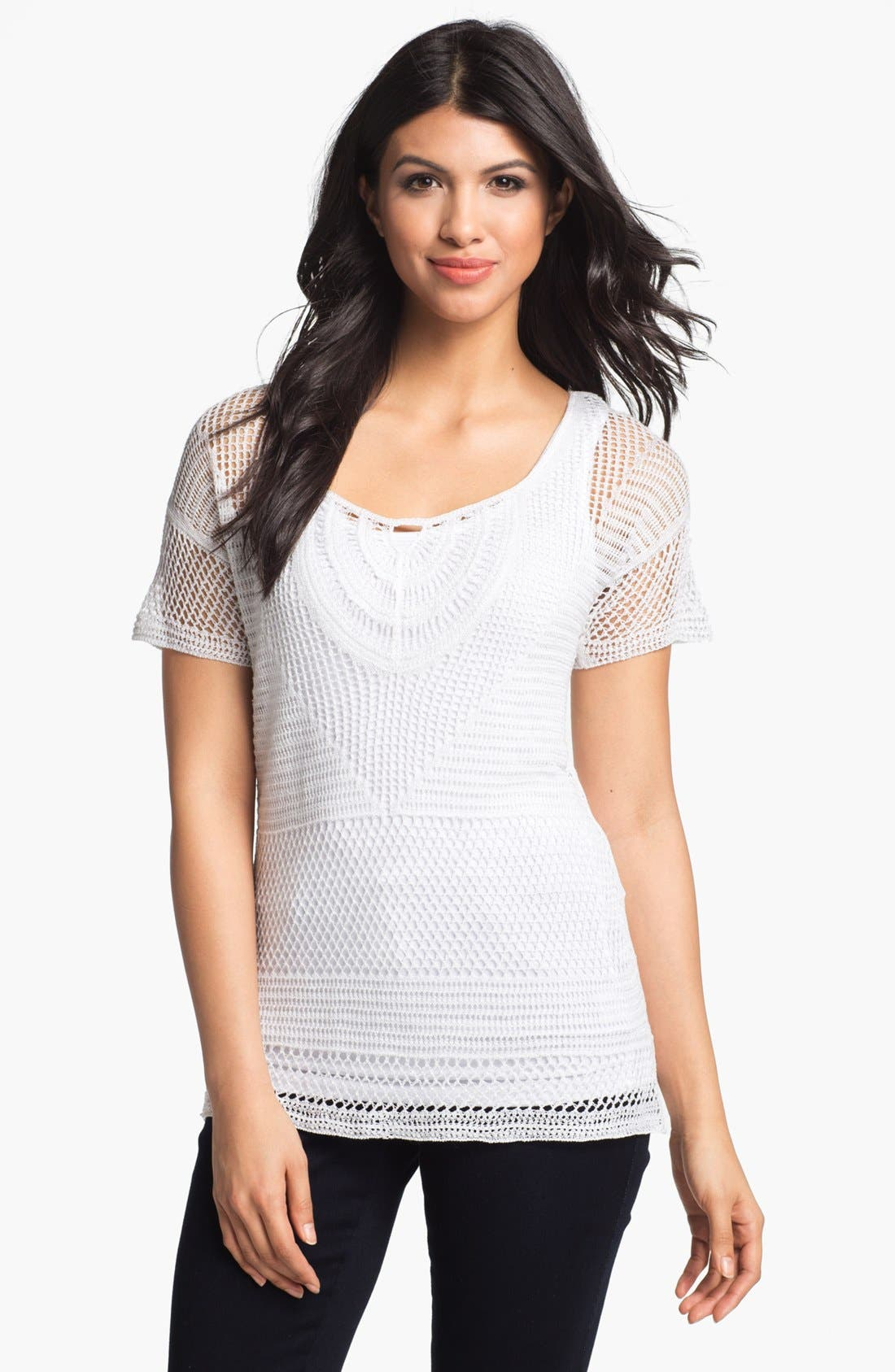 Main Image - Nic + Zoe Scoop Neck Macramé Top