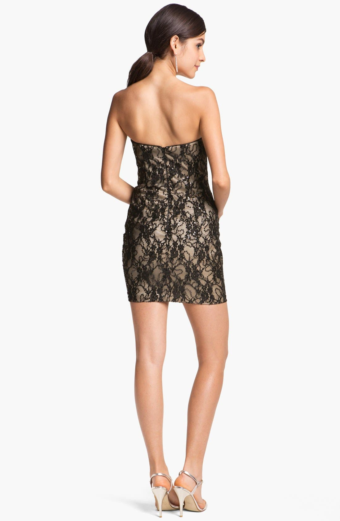 Alternate Image 2  - Jessica McClintock Strapless Lace Minidress