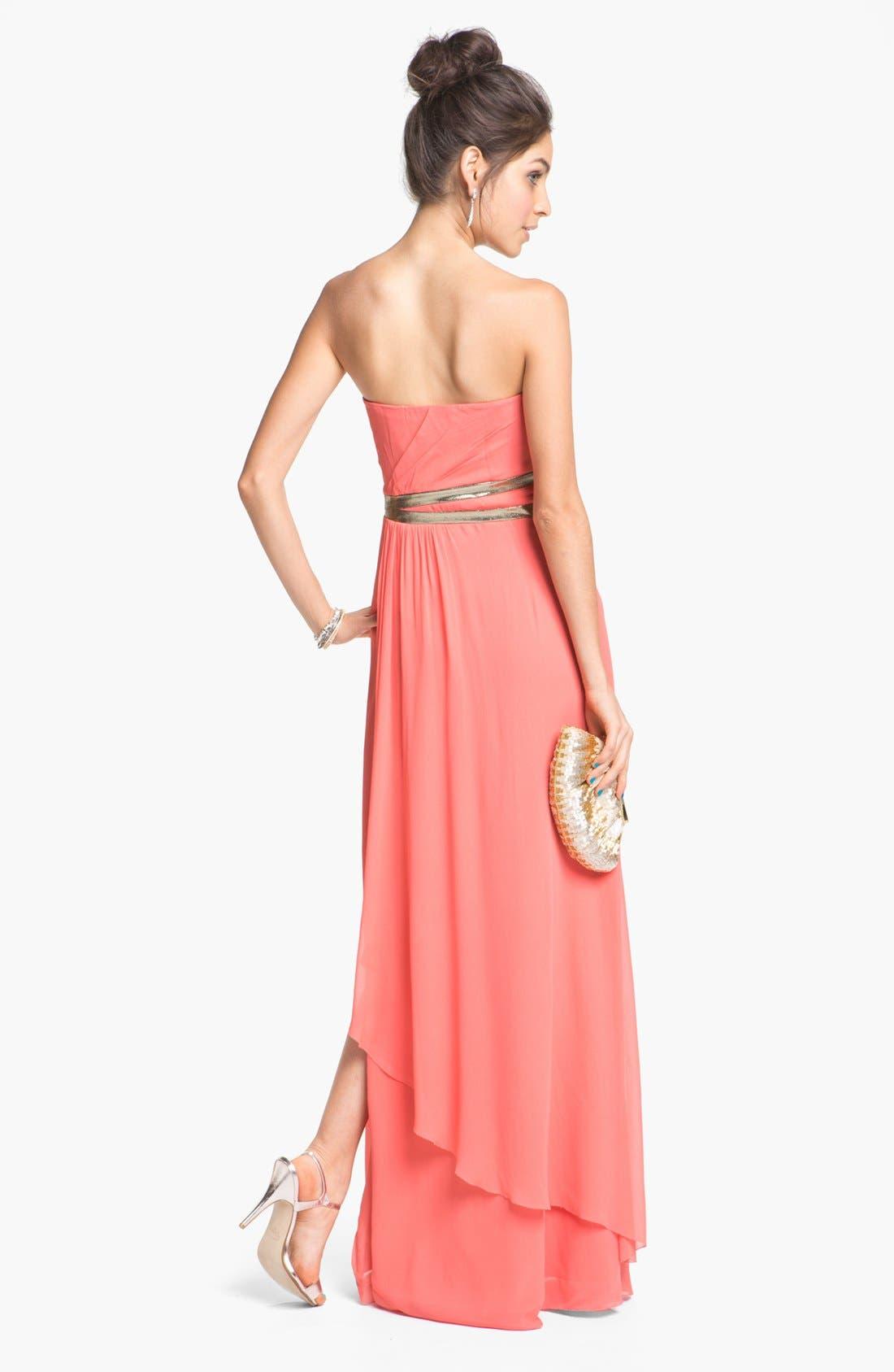Alternate Image 2  - Nicole Miller Strapless Georgette Gown