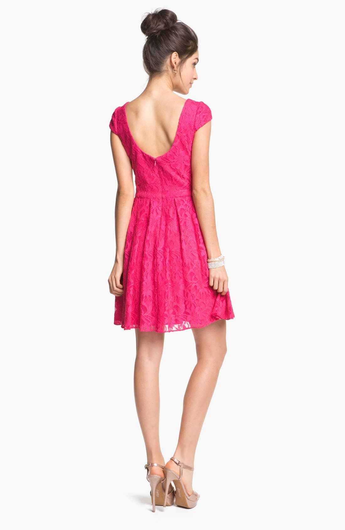 Alternate Image 2  - Hailey by Adrianna Papell Lace Fit & Flare Dress (Online Only)