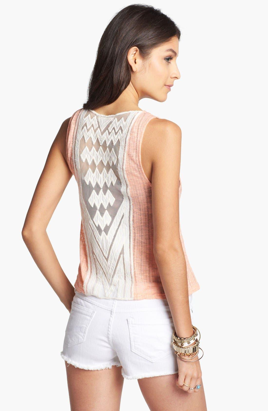 Alternate Image 1 Selected - Elodie Crochet Appliqué Tank (Juniors)