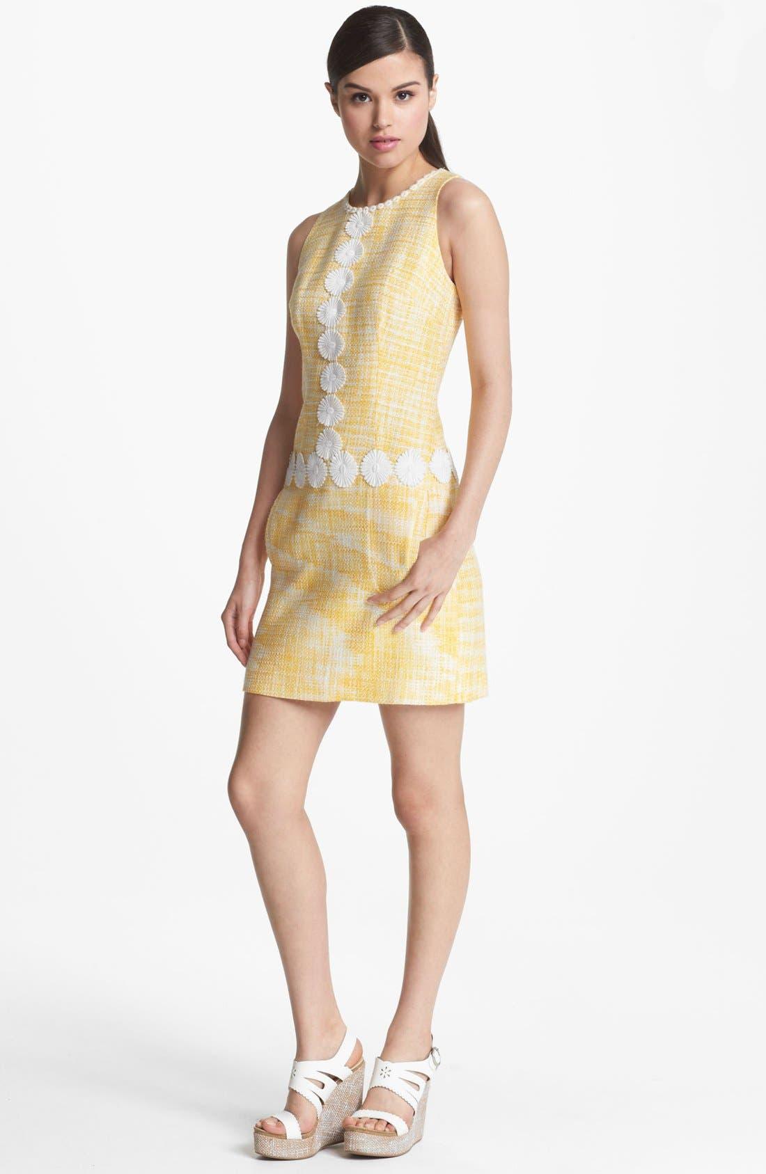 Main Image - Laundry by Shelli Segal Daisy Trim Bouclé Dress