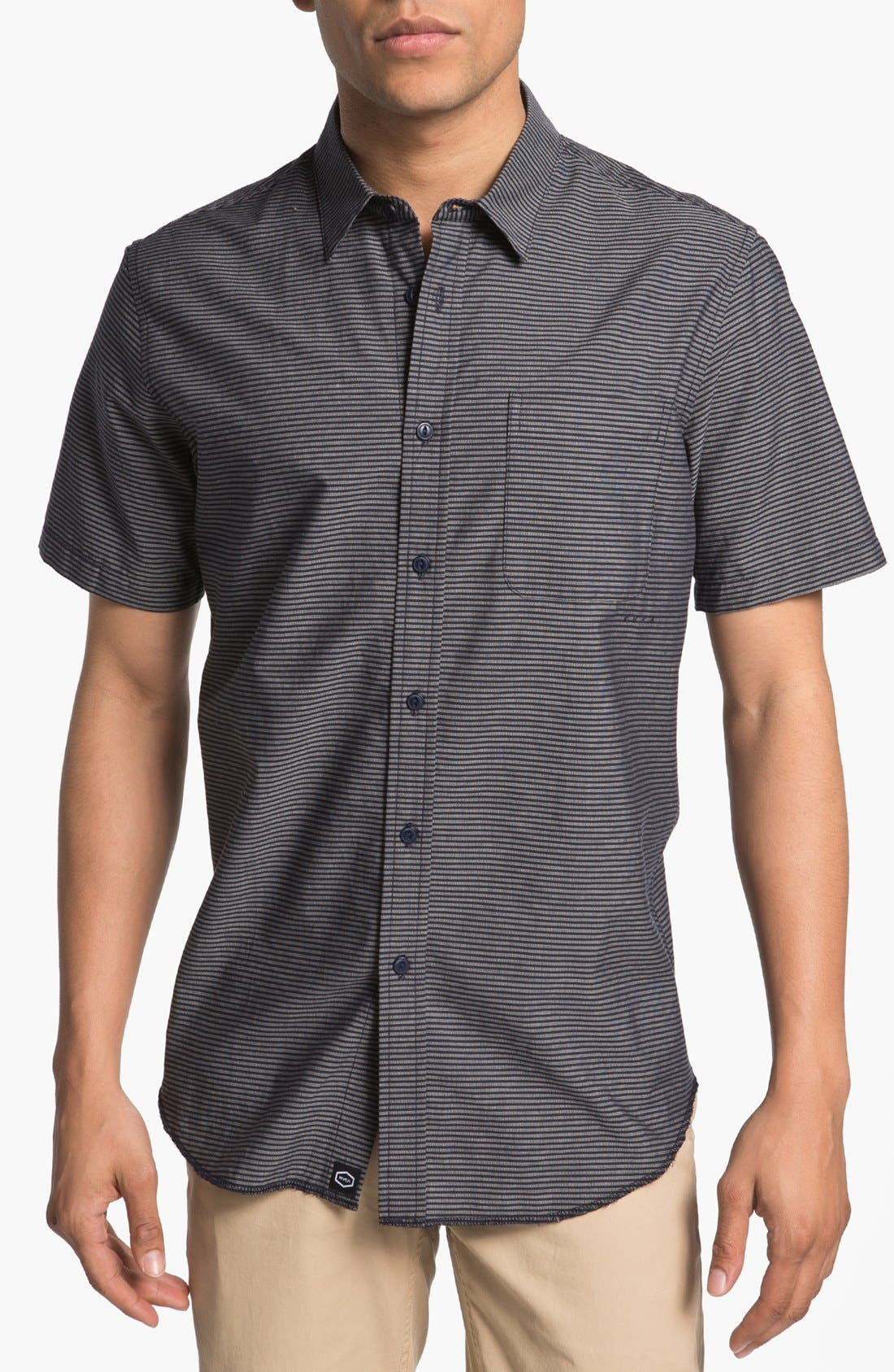 Alternate Image 1 Selected - RVCA 'Dosed' Stripe Woven Shirt