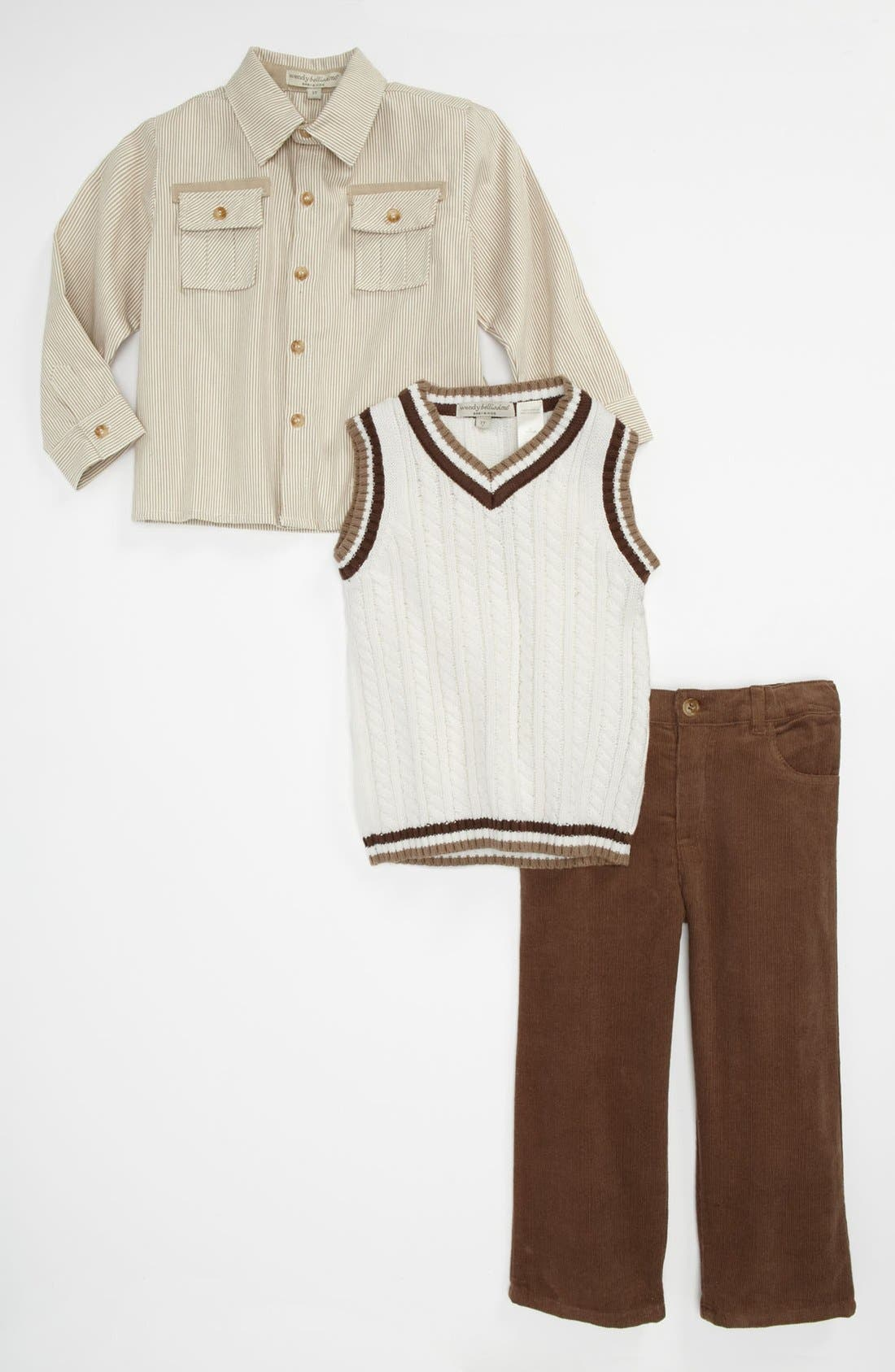 Main Image - Wendy Bellisimo Sweater, Shirt and Pants Set (Baby)