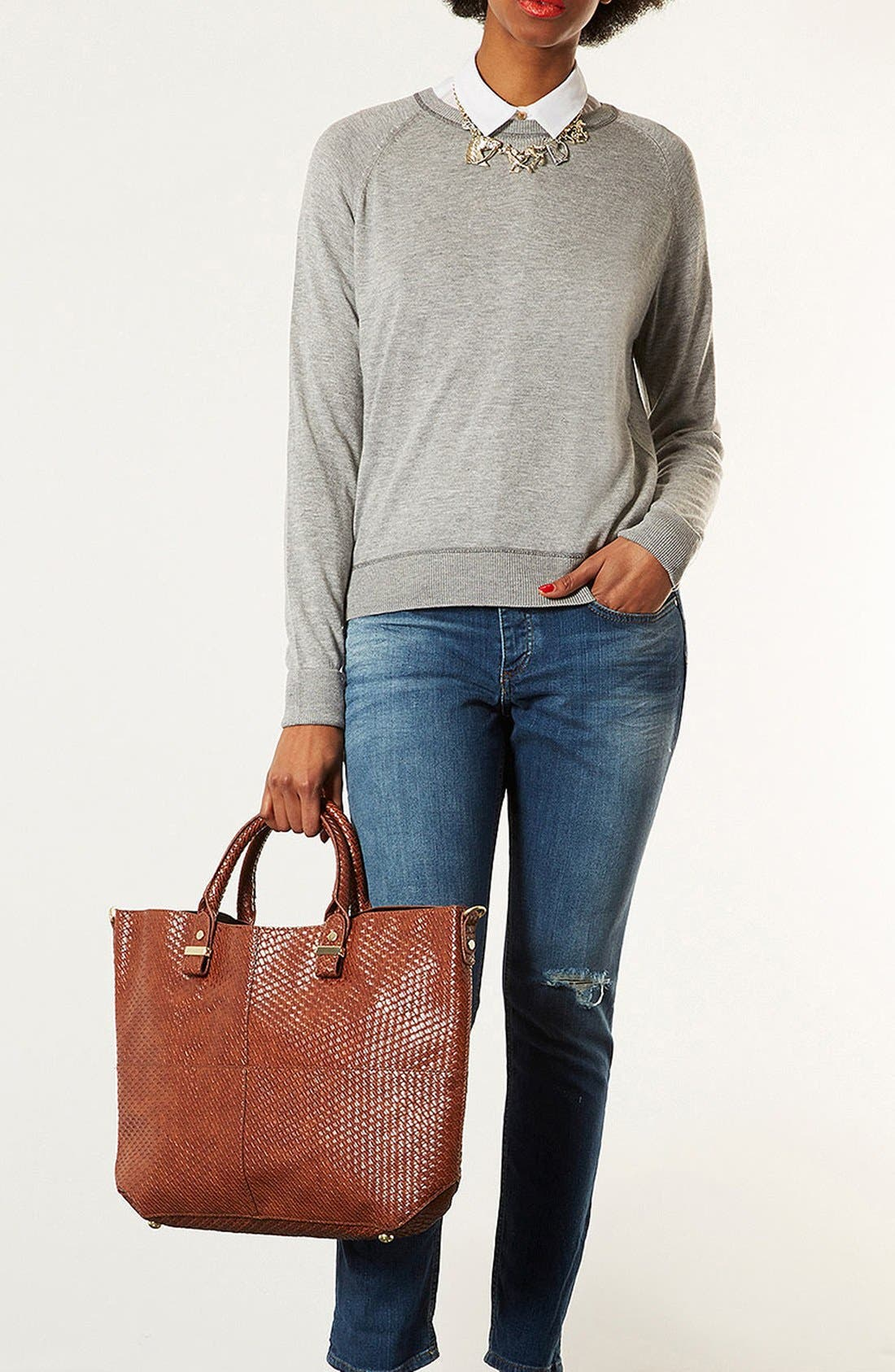 Alternate Image 4  - Topshop 'Woven Lady' Faux Leather Tote, Extra Large