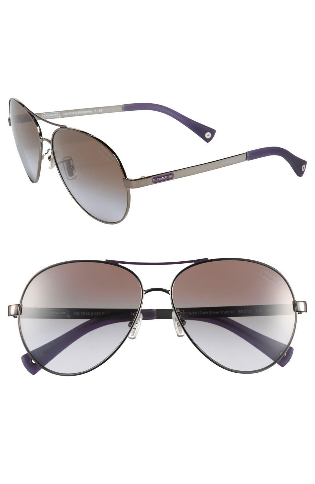 Alternate Image 1 Selected - COACH 'Elaina' 59mm Aviator Sunglasses
