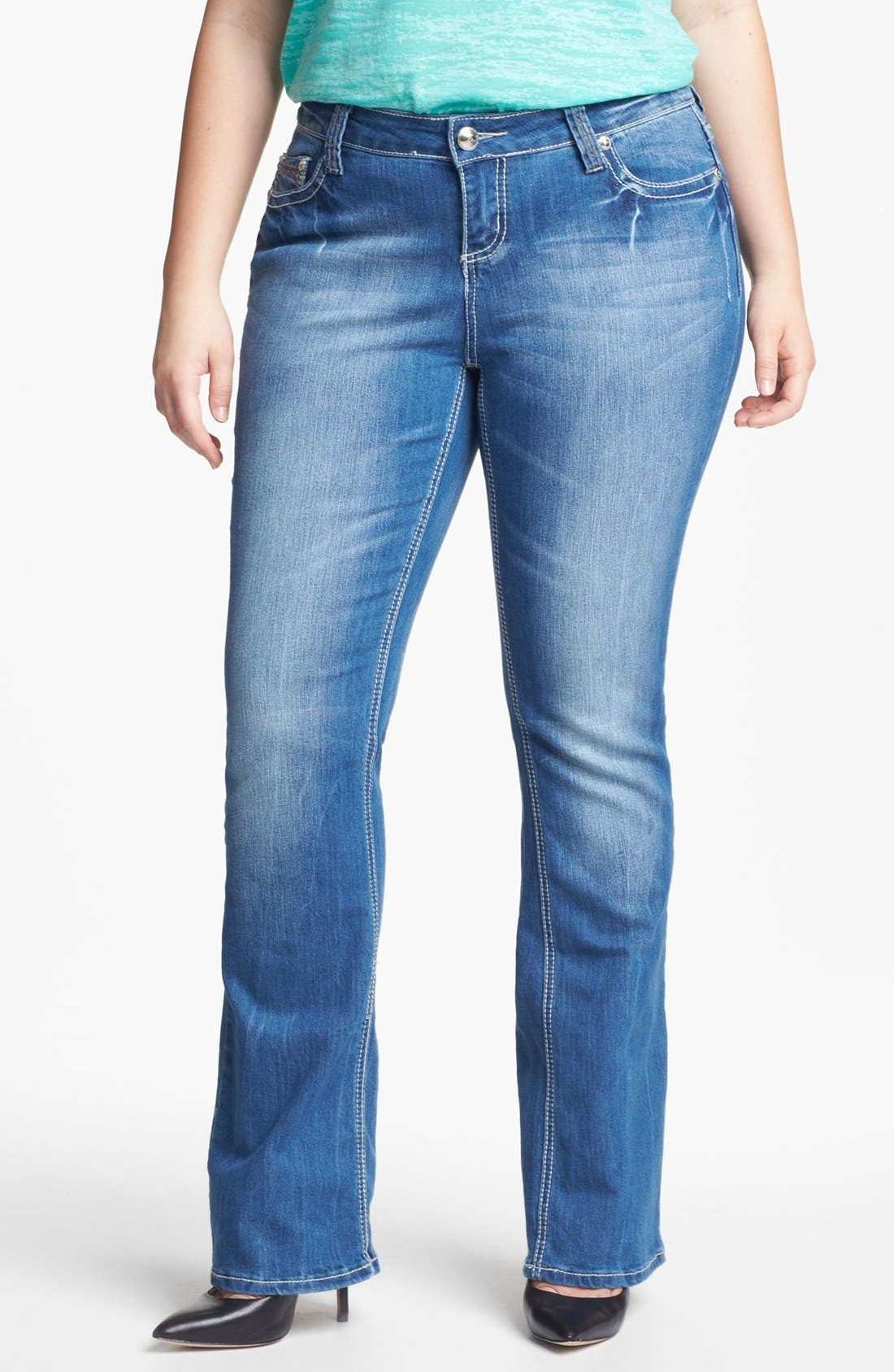 Alternate Image 1 Selected - ZCO Bootcut Jeans (Juniors Plus)