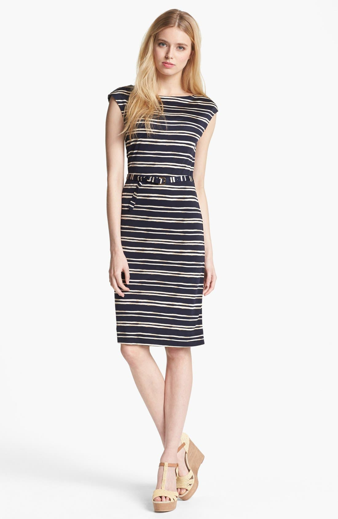 Main Image - Tory Burch 'Kalvin' Belted Silk Shift Dress