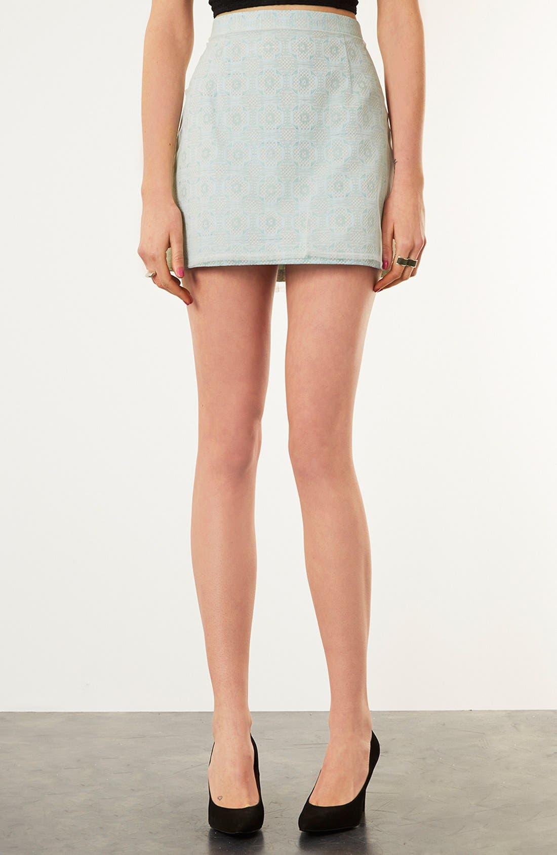 Alternate Image 1 Selected - Topshop Mesh Overlay Jacquard Miniskirt