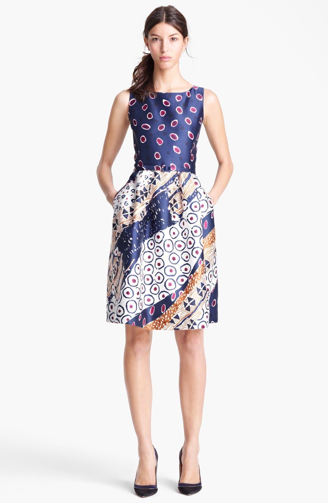 Alternate Image 1 Selected - Oscar de la Renta Belted Print Dress