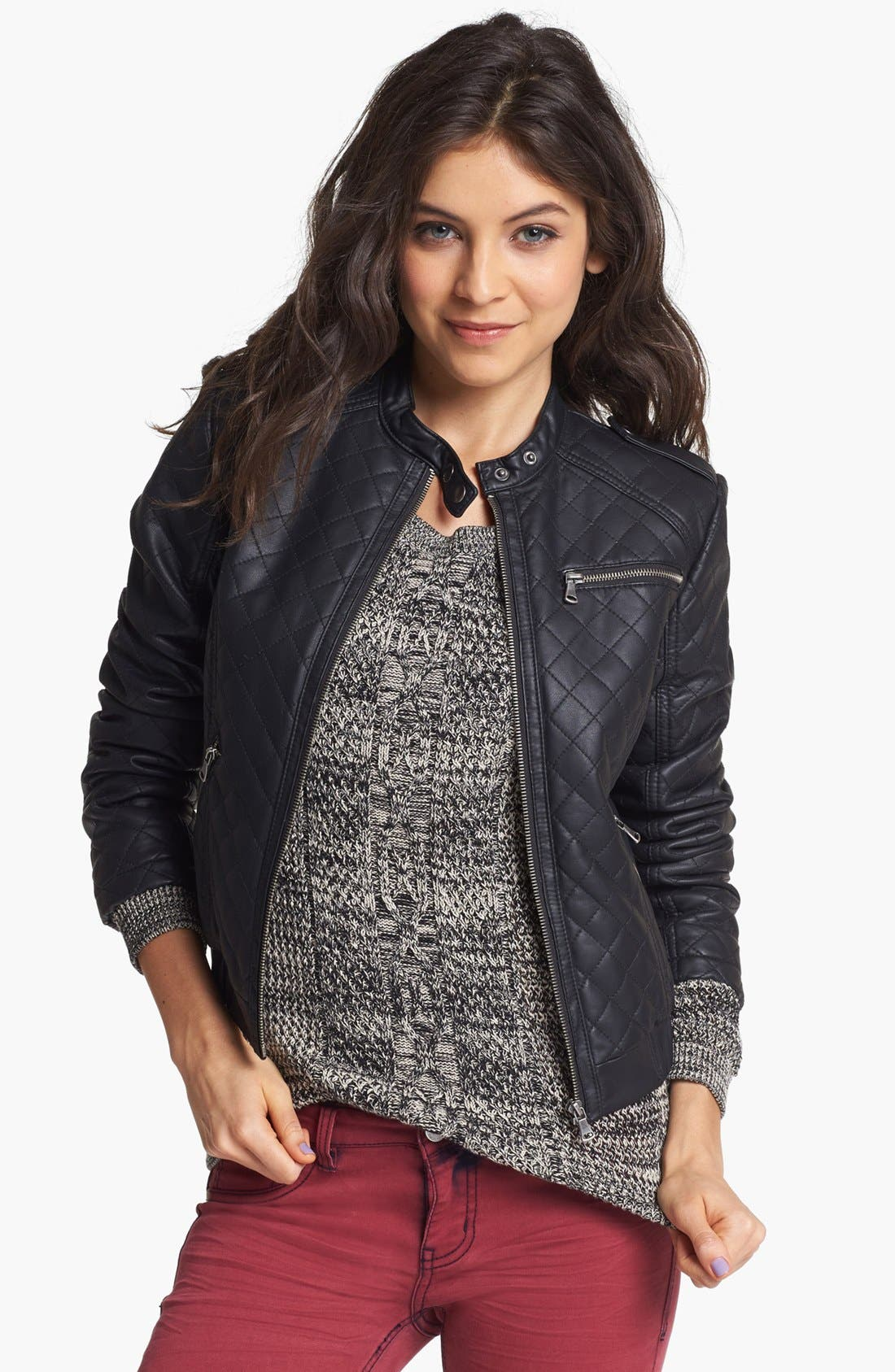 Main Image - Collection B Quilted Faux Leather Bomber Jacket (Juniors)