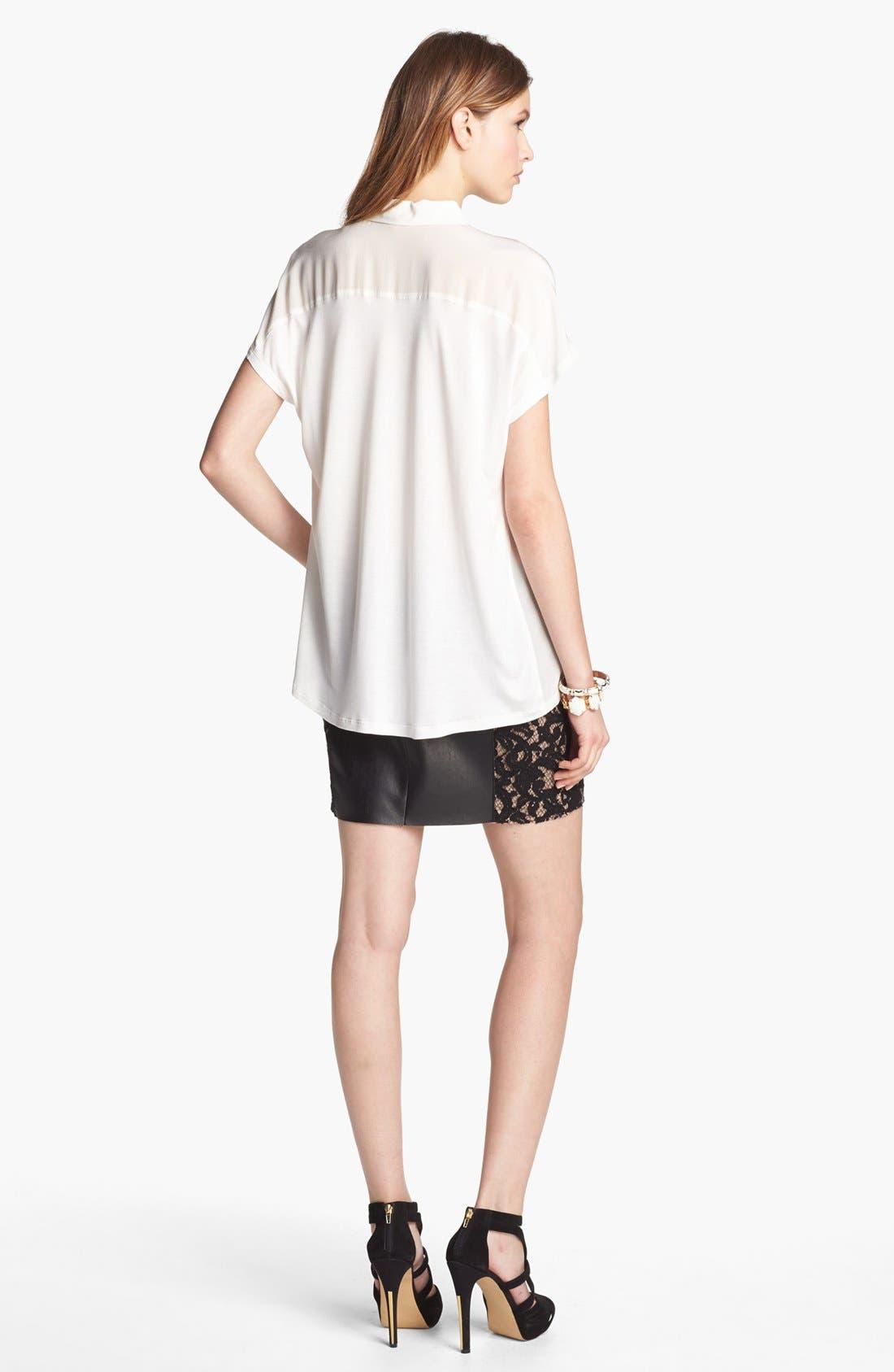 Alternate Image 5  - Bailey 44 'Sangria' Faux Leather & Lace Trim Miniskirt