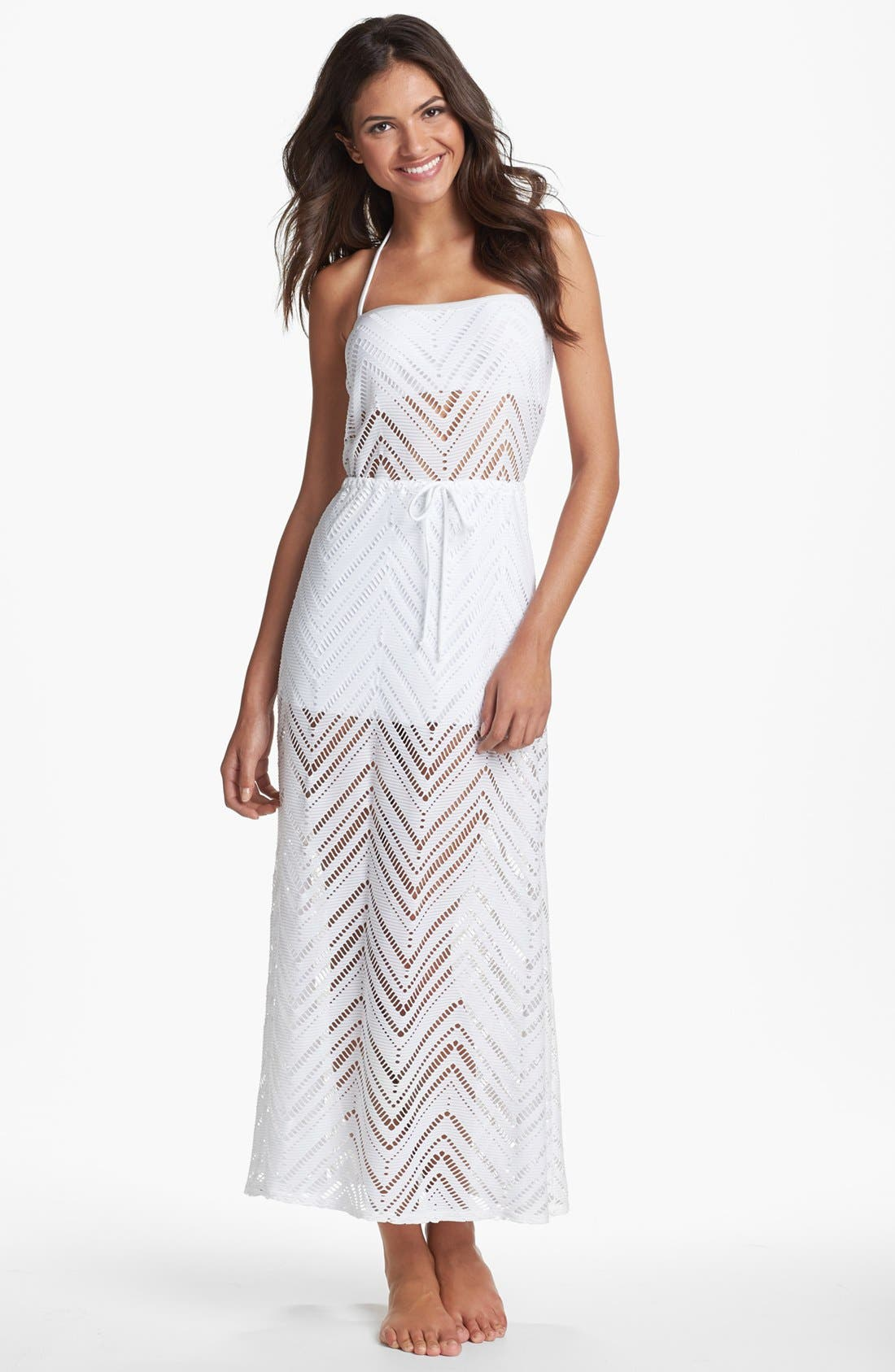 Main Image - Robin Piccone Crochet Overlay Cover-Up Dress