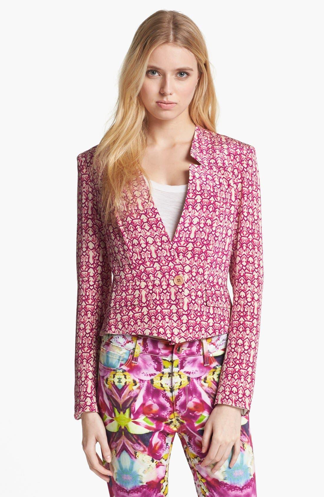 Alternate Image 1 Selected - Rachel Roy 'Abstract Geo' Crop Silk Blazer