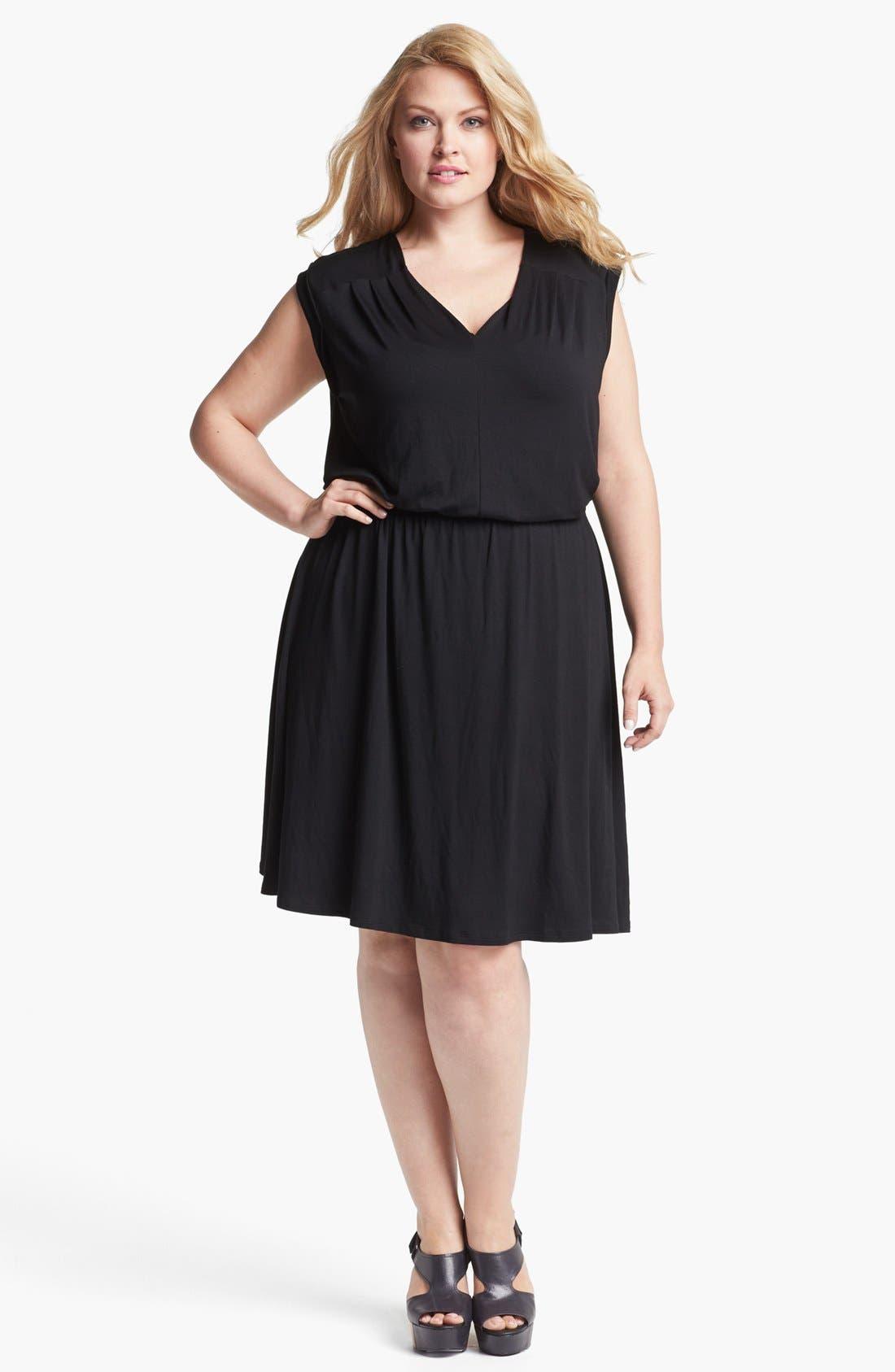 Main Image - Olivia Moon Striped Jersey Dress (Plus Size)