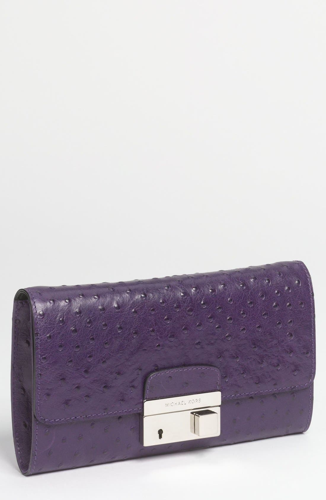 Alternate Image 1 Selected - Michael Kors 'Gia' Ostrich Embossed Leather Clutch